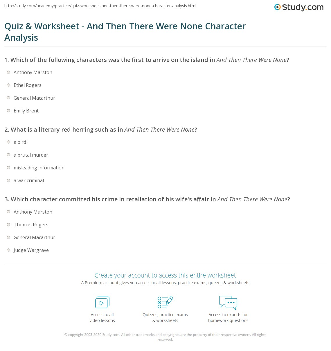 quiz worksheet and then there were none character analysis. Black Bedroom Furniture Sets. Home Design Ideas