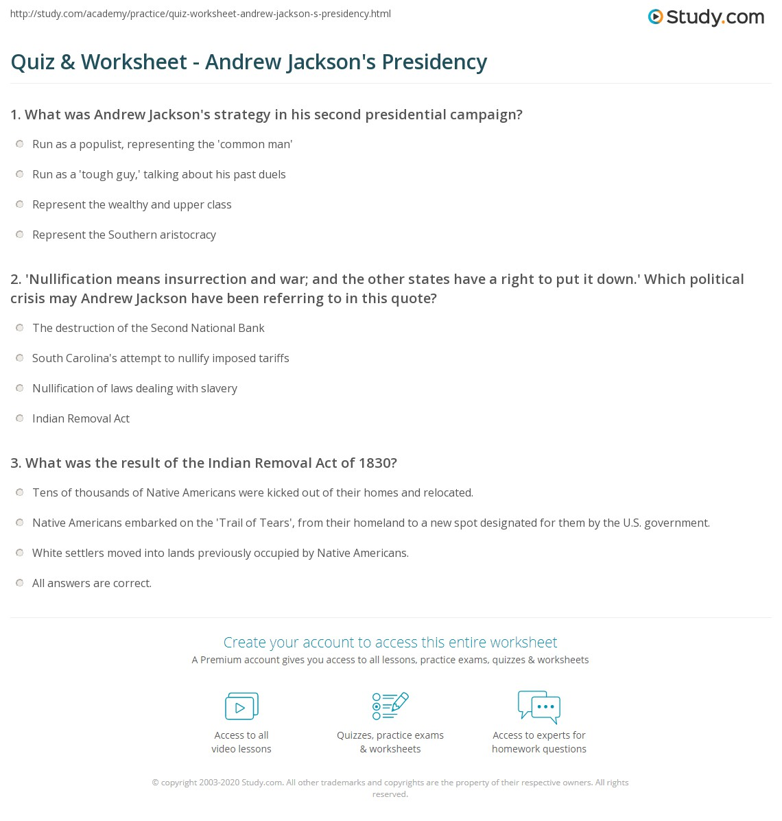 quiz worksheet andrew jackson s presidency com print andrew jackson as president facts quotes worksheet