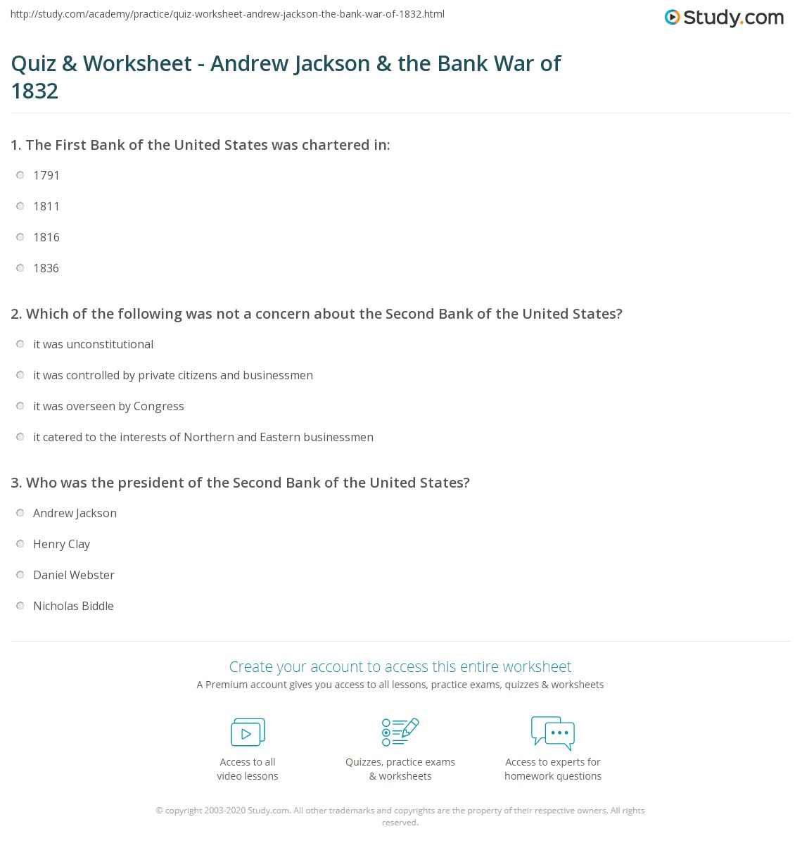 quiz worksheet andrew jackson the bank war of com print andrew jackson s role in the bank war of 1832 worksheet