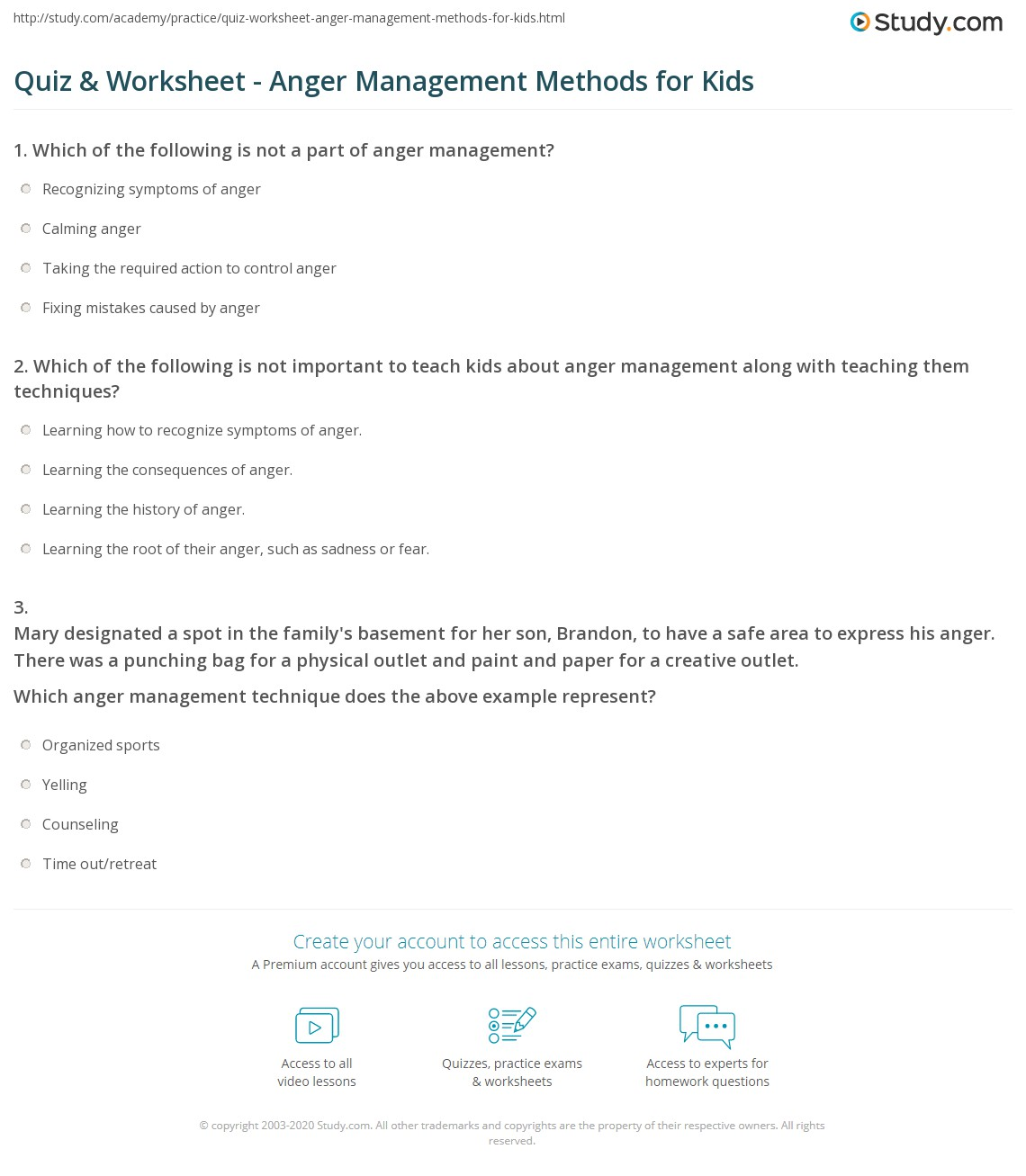 Quiz Worksheet Anger Management Methods for Kids – Anger Management Worksheets for Kids