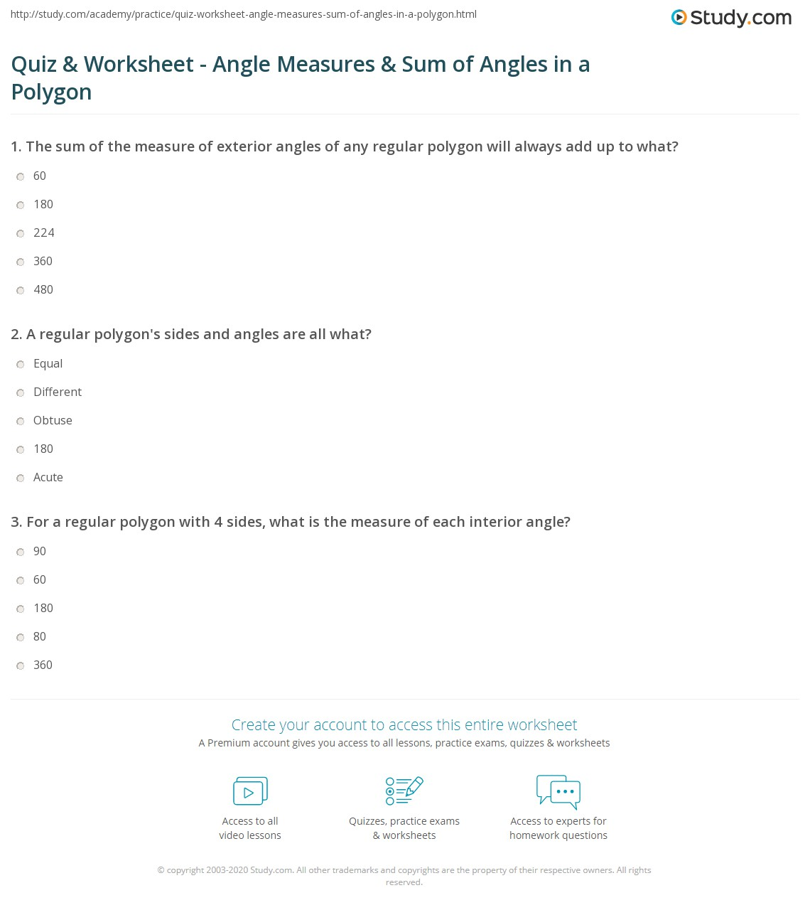 Quiz Worksheet Angle Measures Sum of Angles in a Polygon