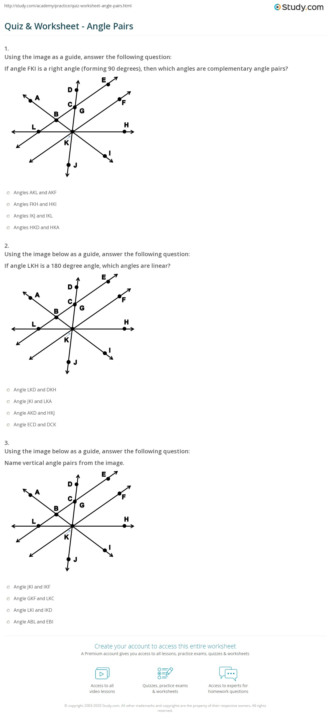 Worksheet Answers moreover vertical angles and linear pairs worksheet ...