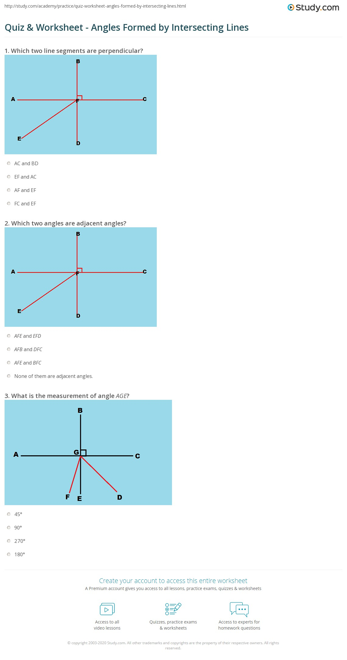 Quiz Worksheet Angles Formed by Intersecting Lines – Adjacent Angles Worksheet