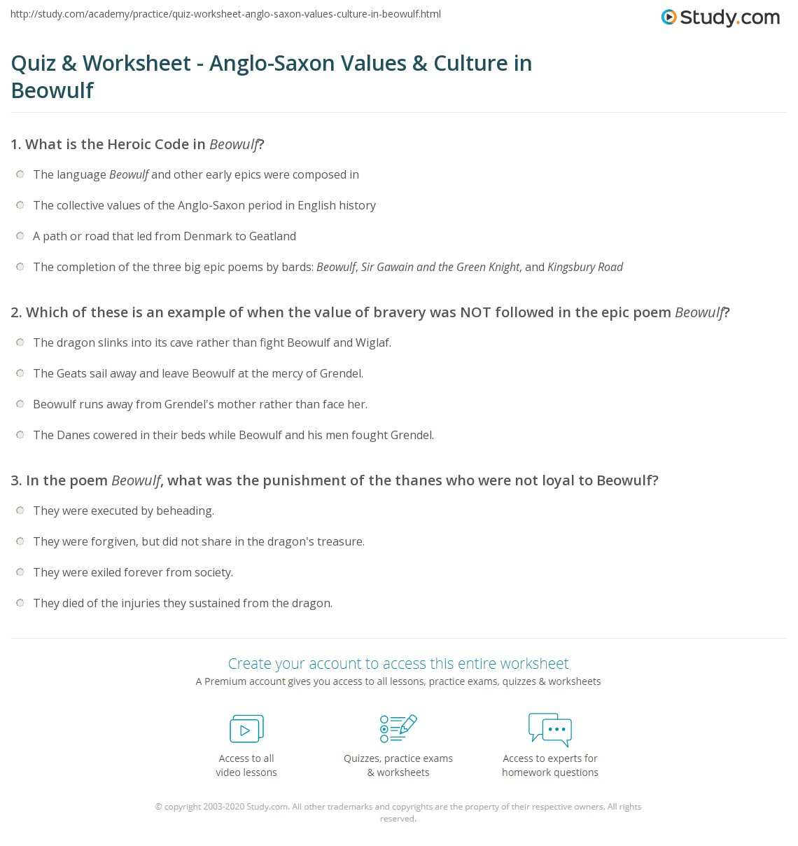 quiz worksheet anglo saxon values culture in beowulf. Black Bedroom Furniture Sets. Home Design Ideas