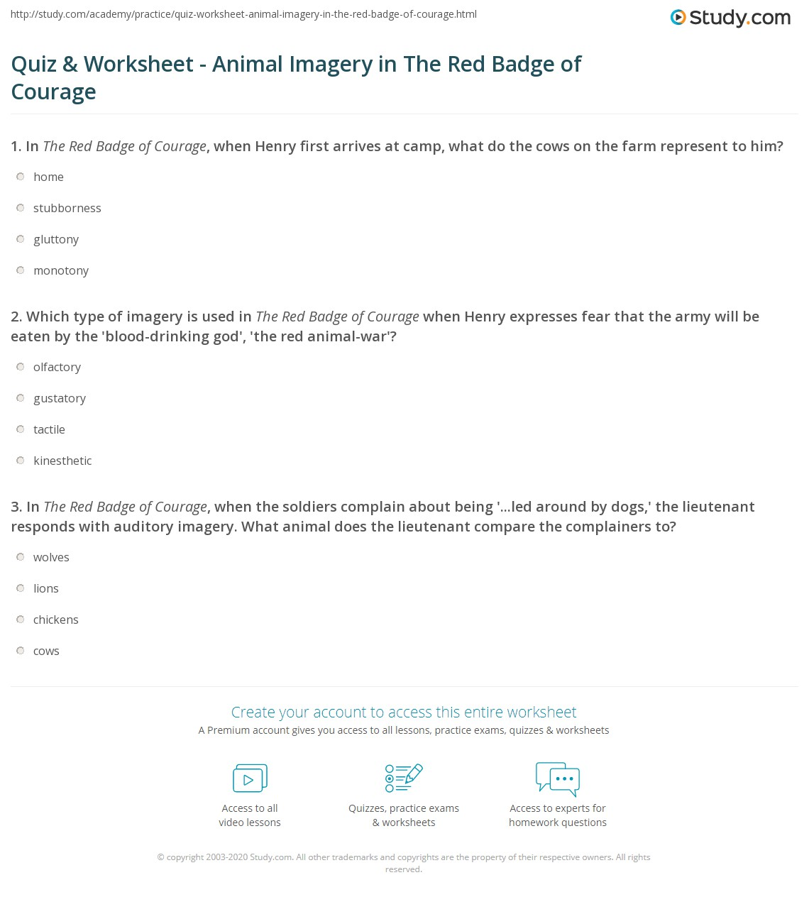 Quiz Worksheet Animal Imagery In The Red Badge Of