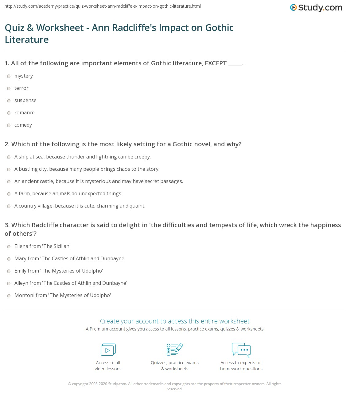 Quiz & Worksheet - Ann Radcliffe's Impact on Gothic Literature  worksheets, education, free worksheets, multiplication, math worksheets, and printable worksheets Elements Of Literature Worksheet 2 1372 x 1140