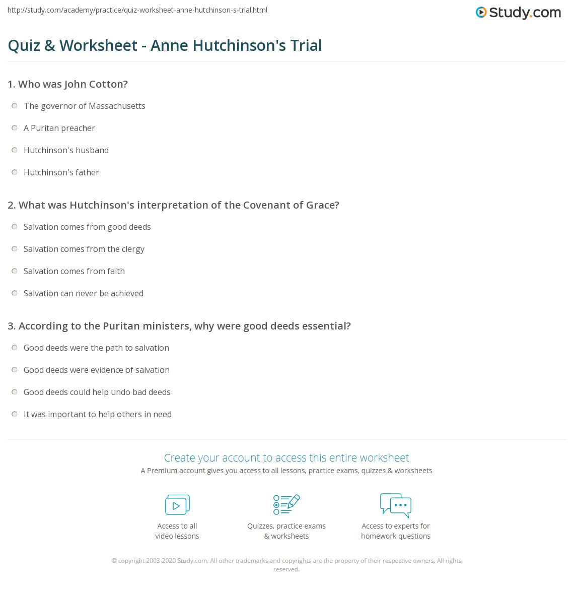 quiz  amp  worksheet   anne hutchinson    s trial   study comprint trial of anne hutchinson  history  significance  amp  timeline worksheet