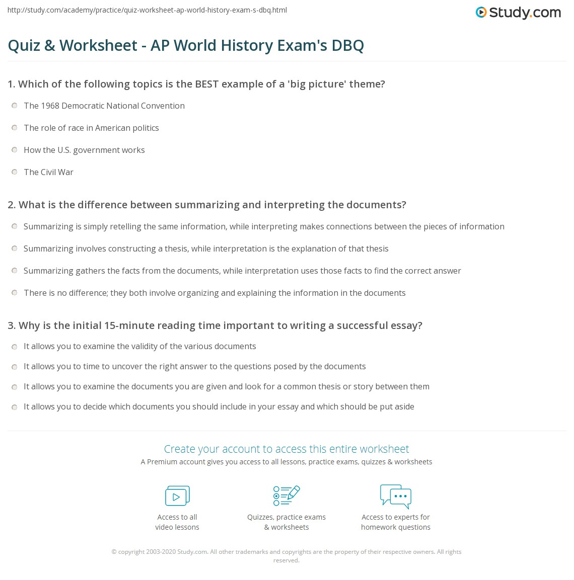 quiz worksheet ap world history exam s dbq com print mastering the document based essay question on the ap world history exam section ii part a worksheet
