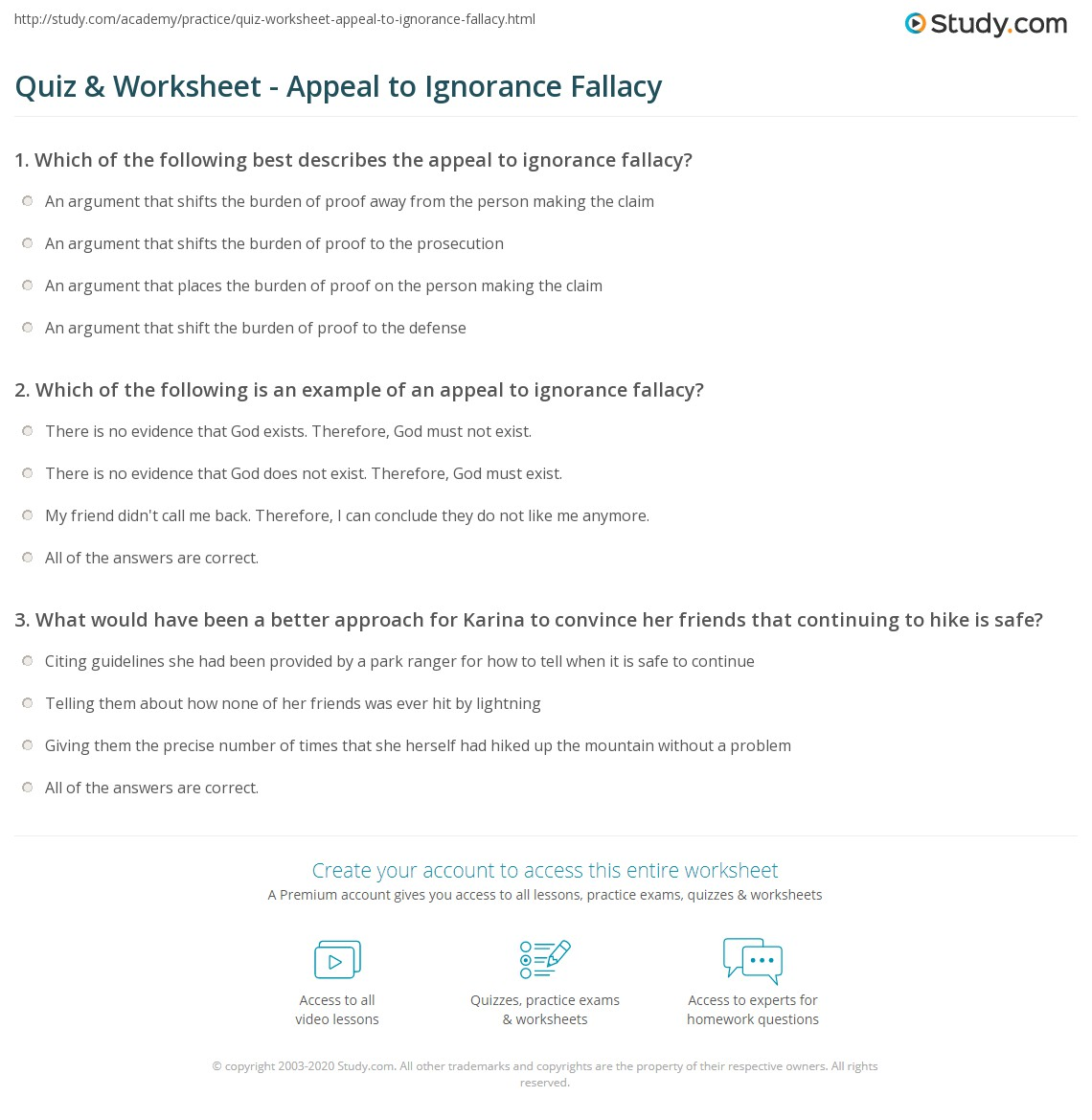 Quiz Worksheet Appeal to Ignorance Fallacy – Fallacies Worksheet