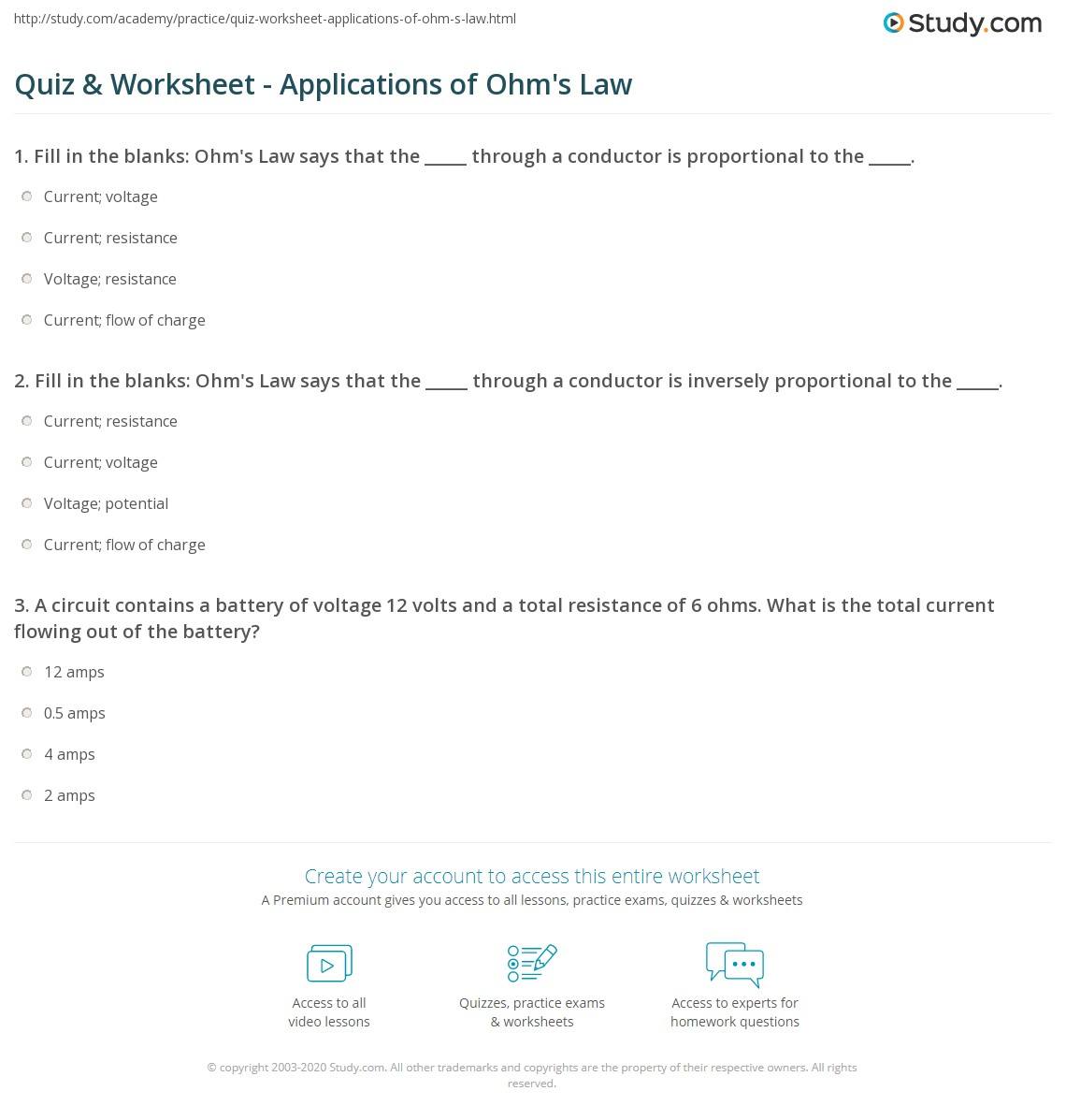Worksheets Ohms Law Worksheet quiz worksheet applications of ohms law study com print using with circuits worksheet