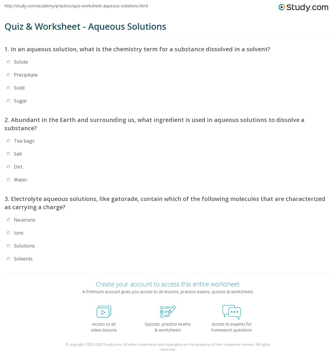 Worksheets Reactions In Aqueous Solutions Worksheet quiz worksheet aqueous solutions study com print solution definition reaction example worksheet