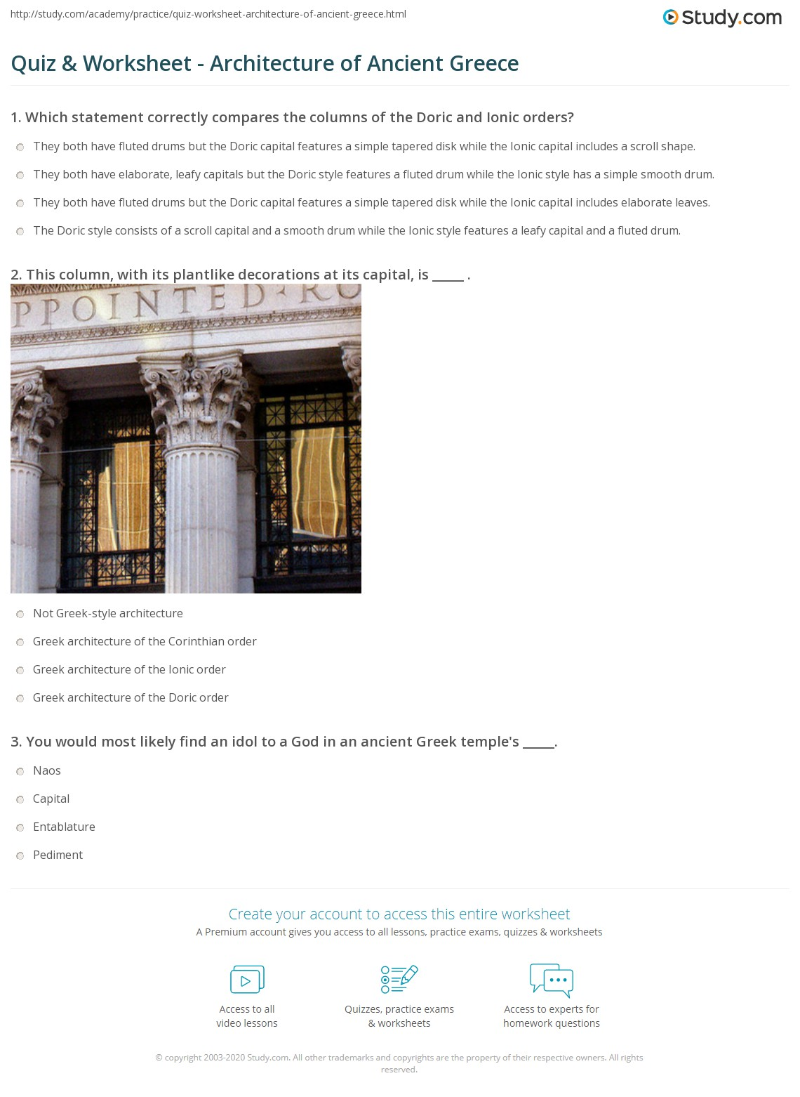 Quiz Worksheet Architecture of Ancient Greece – Ancient Greece Worksheets