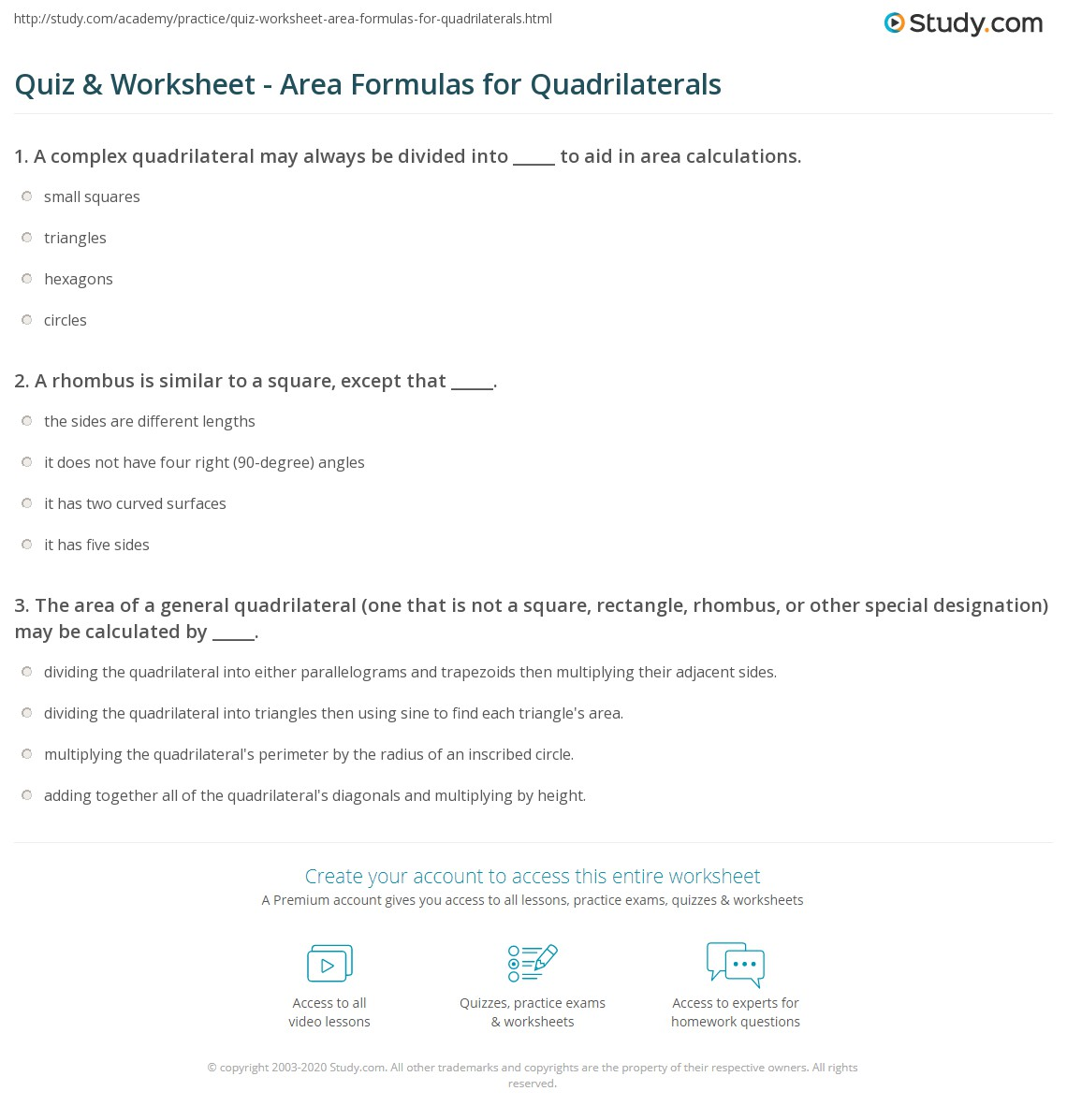 worksheet Classifying Quadrilaterals Worksheets special quadrilaterals worksheet two step equation word problems quiz area formulas for studycom area