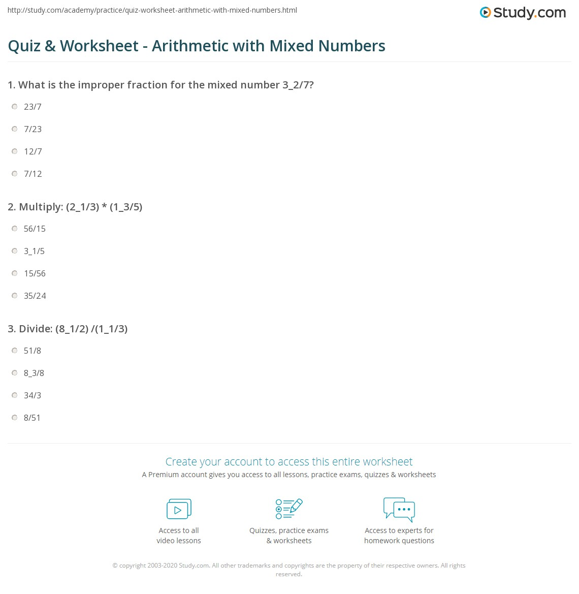Quiz and Worksheet Arithmetic with Mixed Numbers – Subtracting Mixed Numbers with Renaming Worksheet
