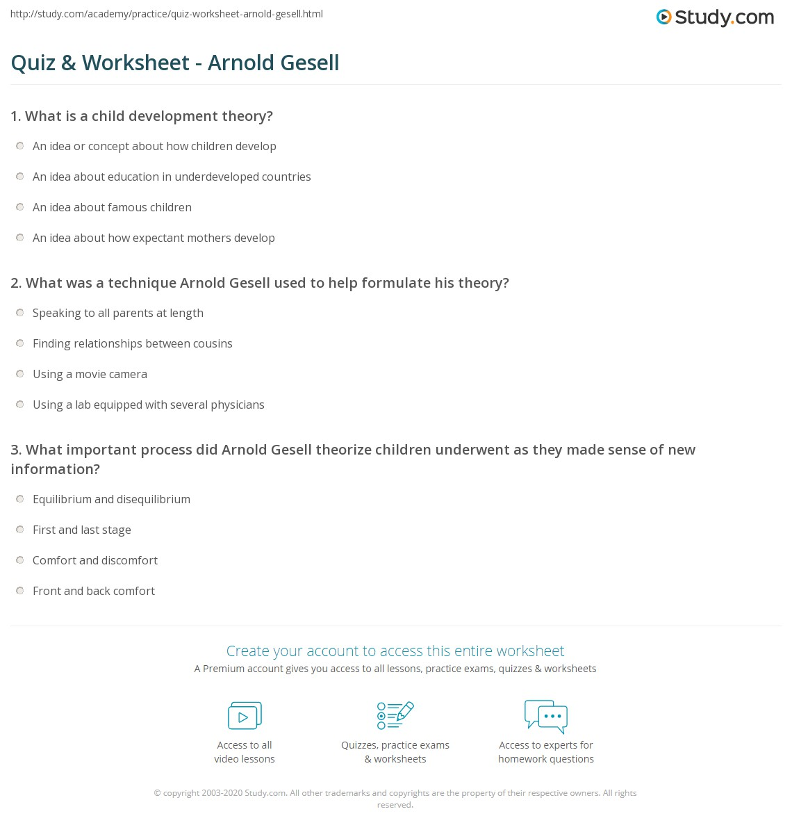 Quiz & Worksheet - Arnold Gesell  Study.com worksheets, worksheets for teachers, grade worksheets, printable worksheets, math worksheets, and multiplication Child Development Theorists Worksheet 2 1195 x 1140