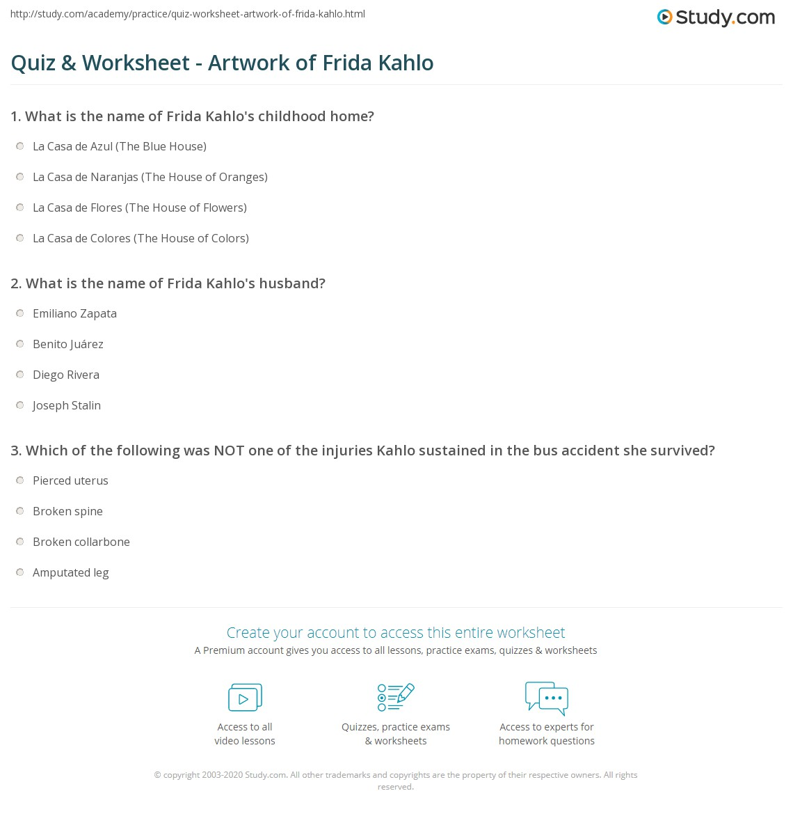 Worksheets Frida Kahlo Worksheets quiz worksheet artwork of frida kahlo study com print who is facts timeline worksheet