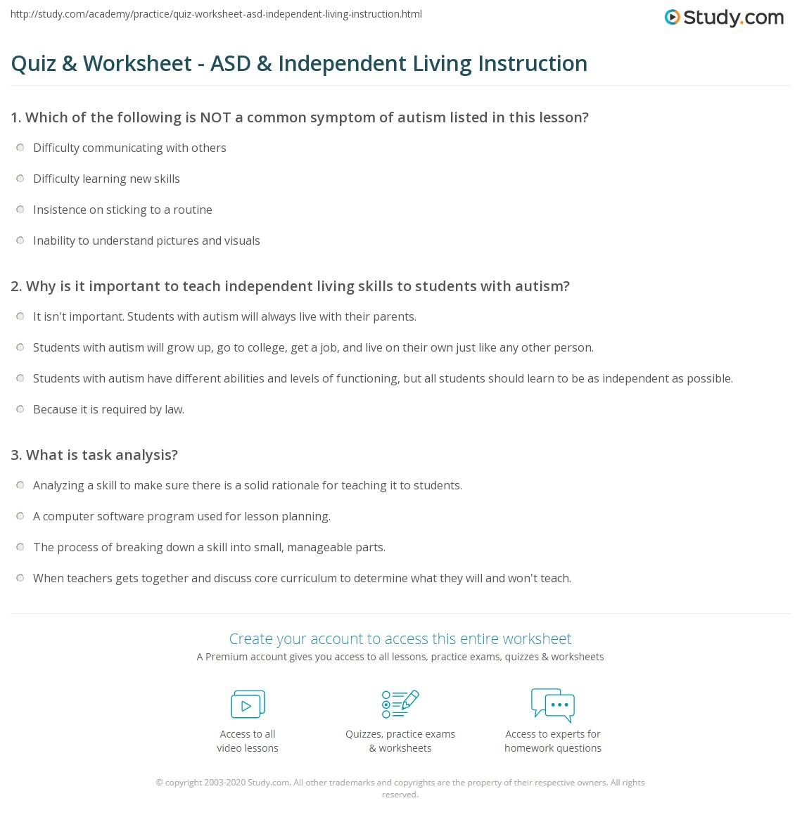 quiz worksheet asd independent living instruction study com print teaching independent living skills to students autism worksheet
