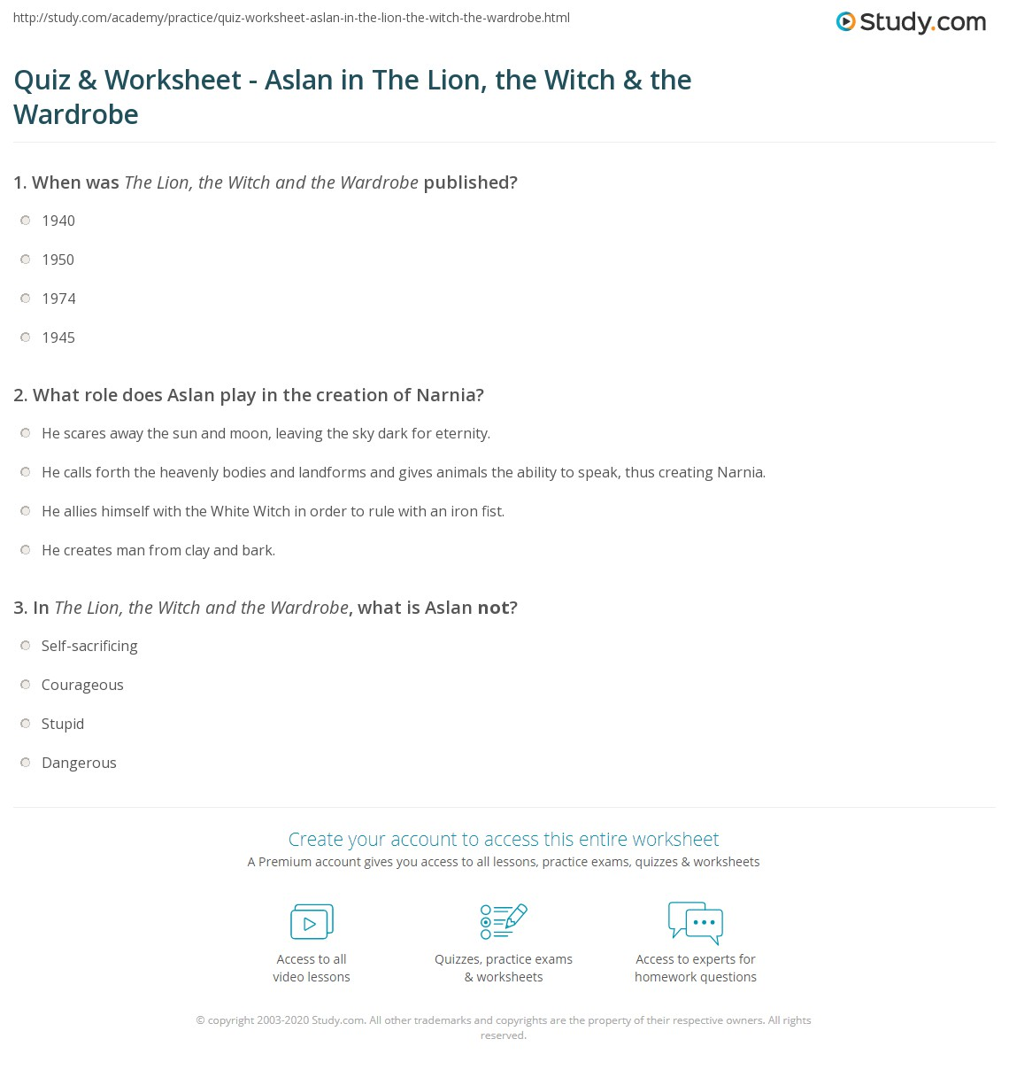 Quiz Worksheet Aslan in The Lion the Witch the Wardrobe – Character Creation Worksheet