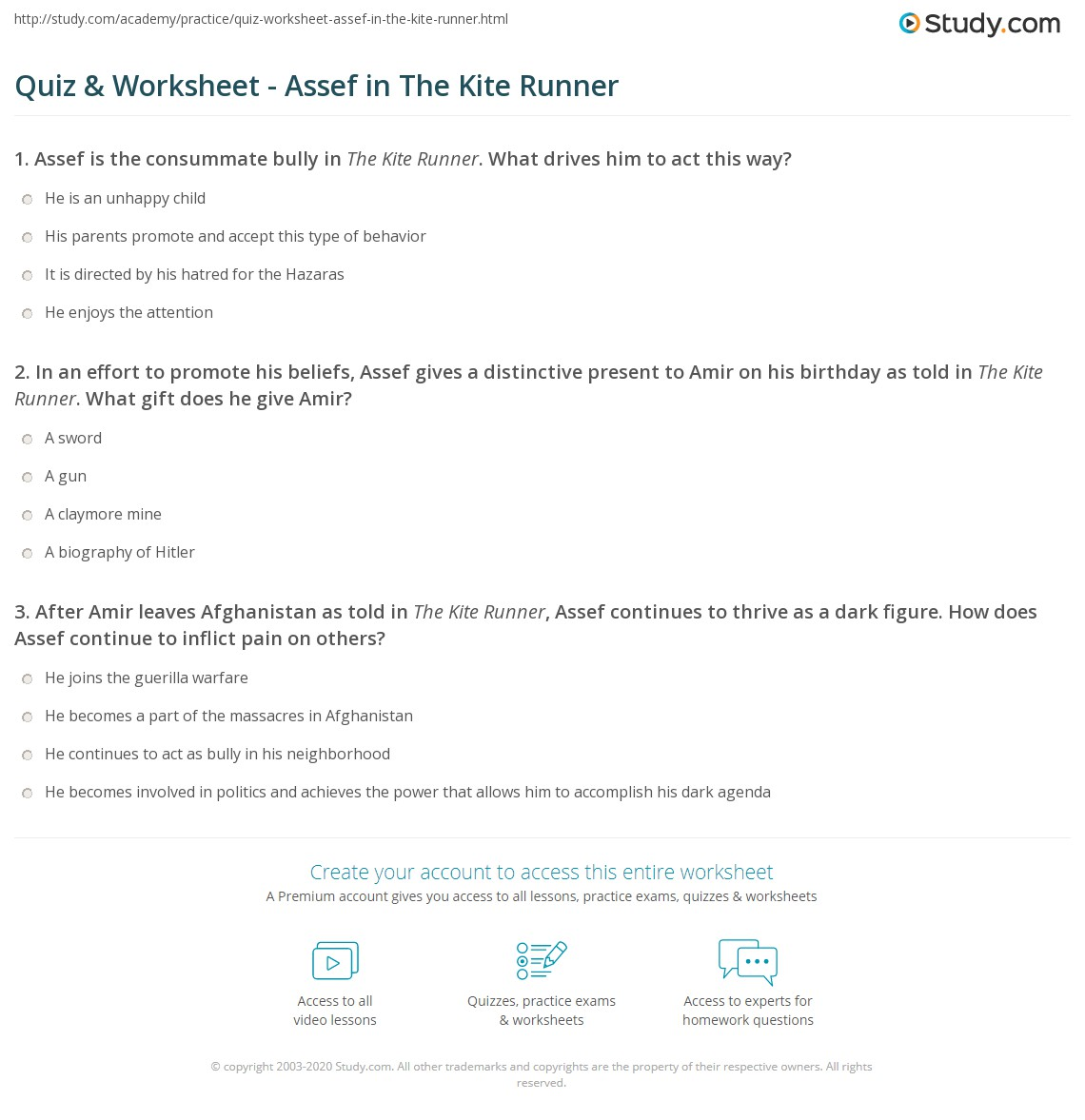 quiz worksheet assef in the kite runner com print assef in the kite runner character description analysis worksheet