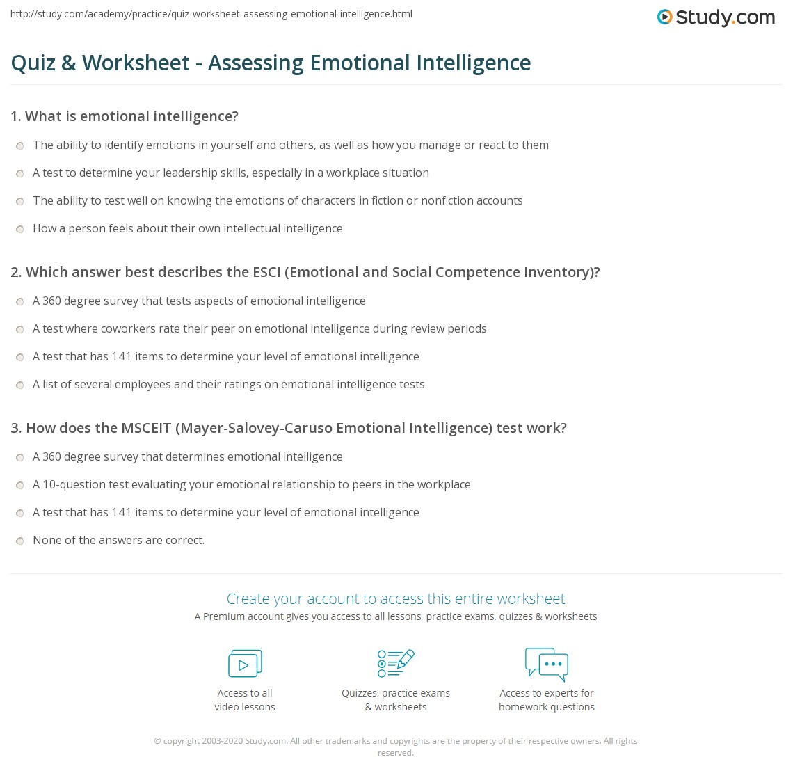 Remarkable image with emotional intelligence test printable
