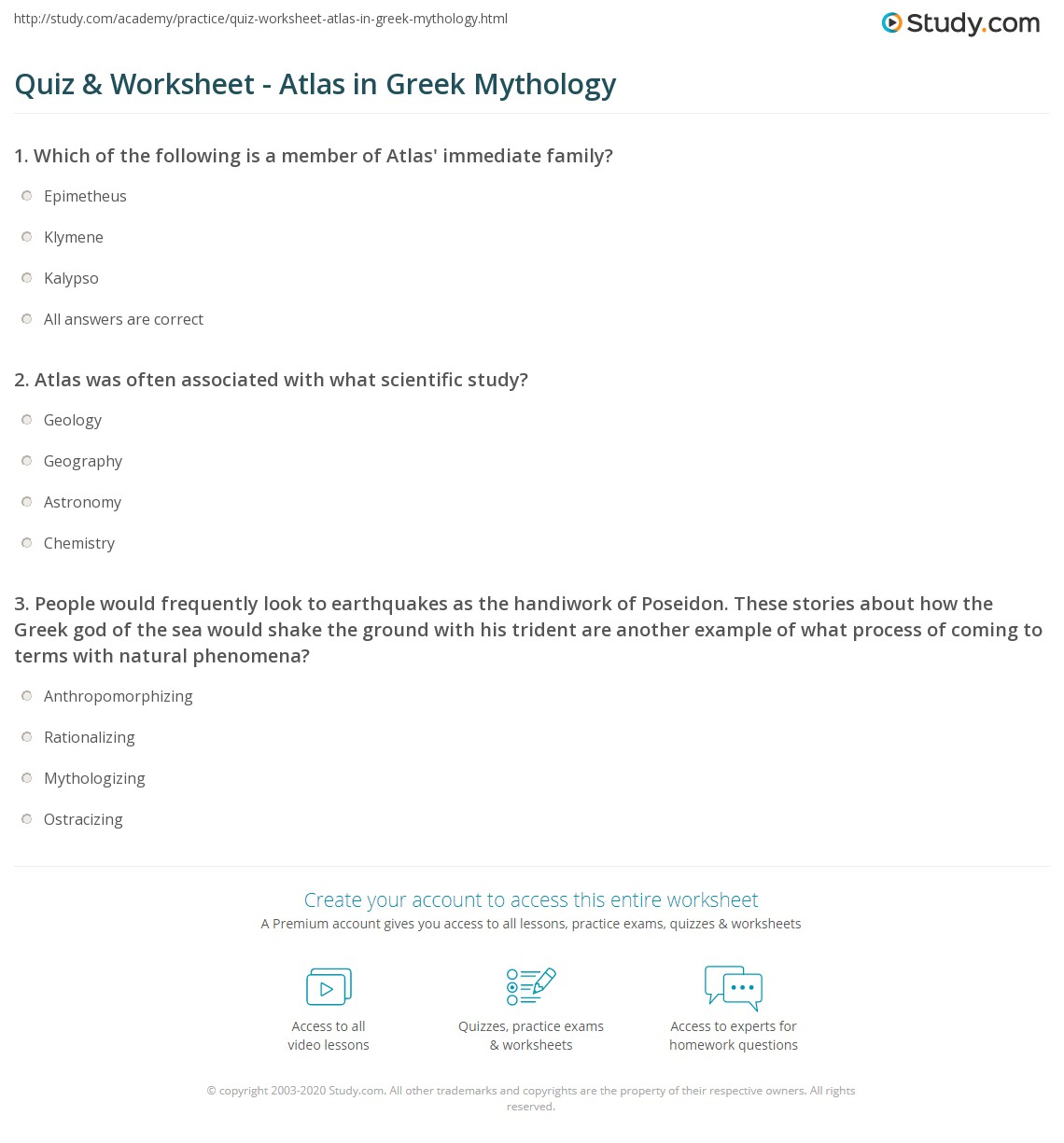 Quiz Worksheet Atlas in Greek Mythology – Greek Gods Worksheet