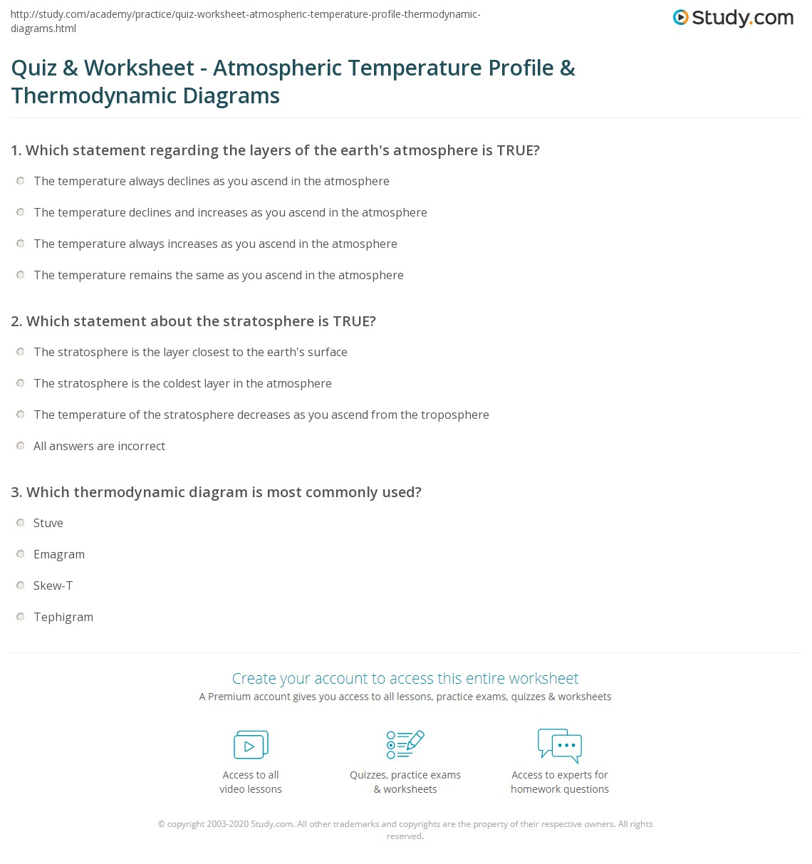 Quiz Worksheet Atmospheric Temperature Profile Thermodynamic – Atmosphere Worksheet