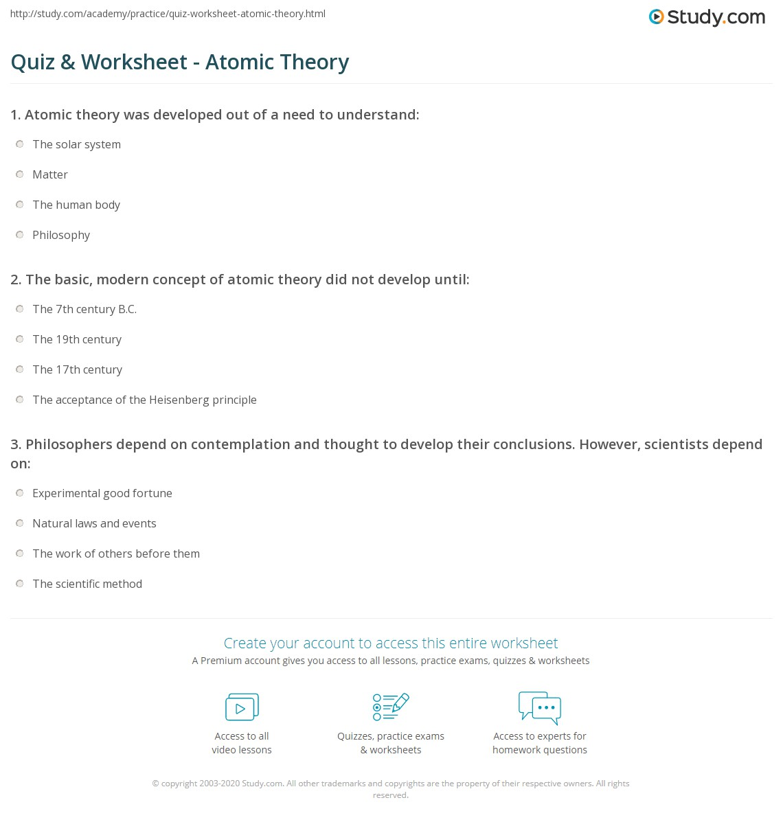 Quiz Worksheet Atomic Theory – Atomic Timeline Worksheet