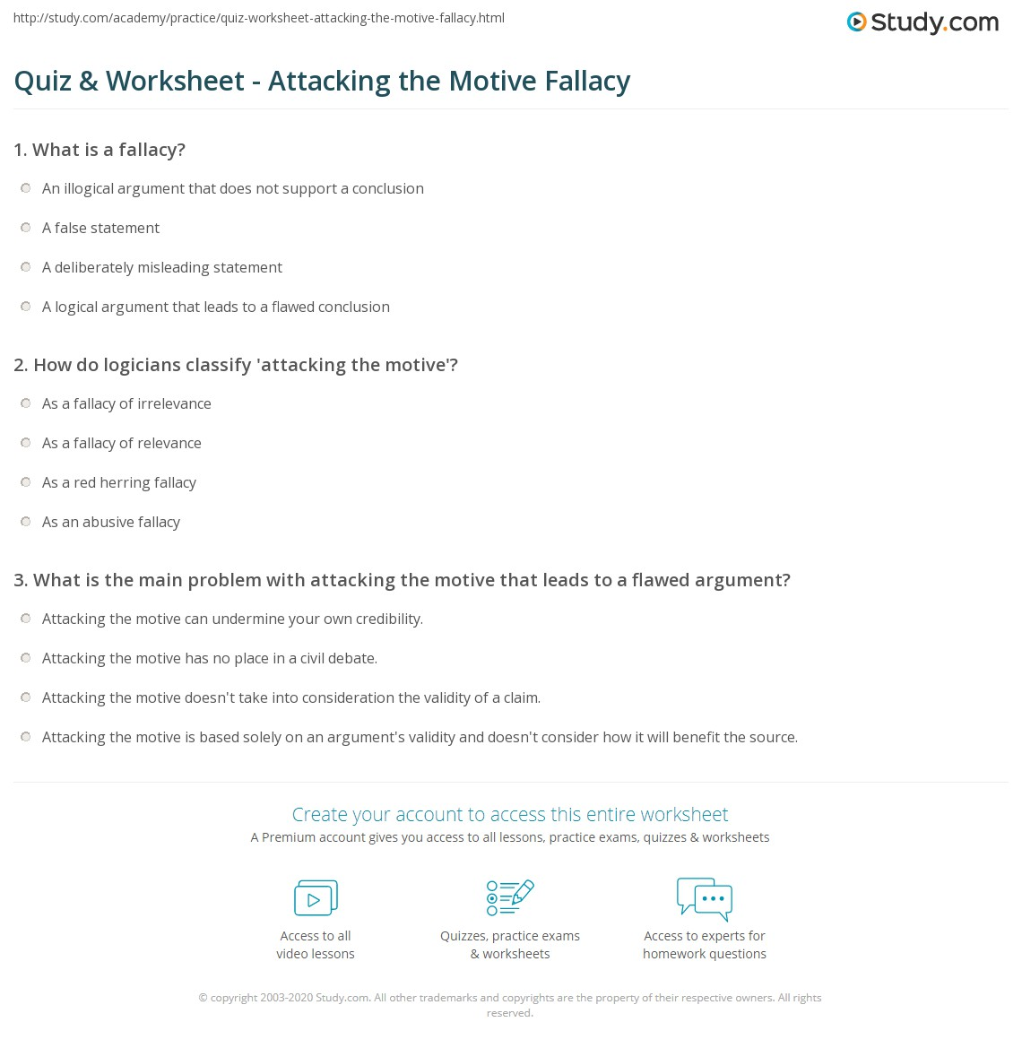 Quiz Worksheet Attacking the Motive Fallacy – Generalization Worksheets