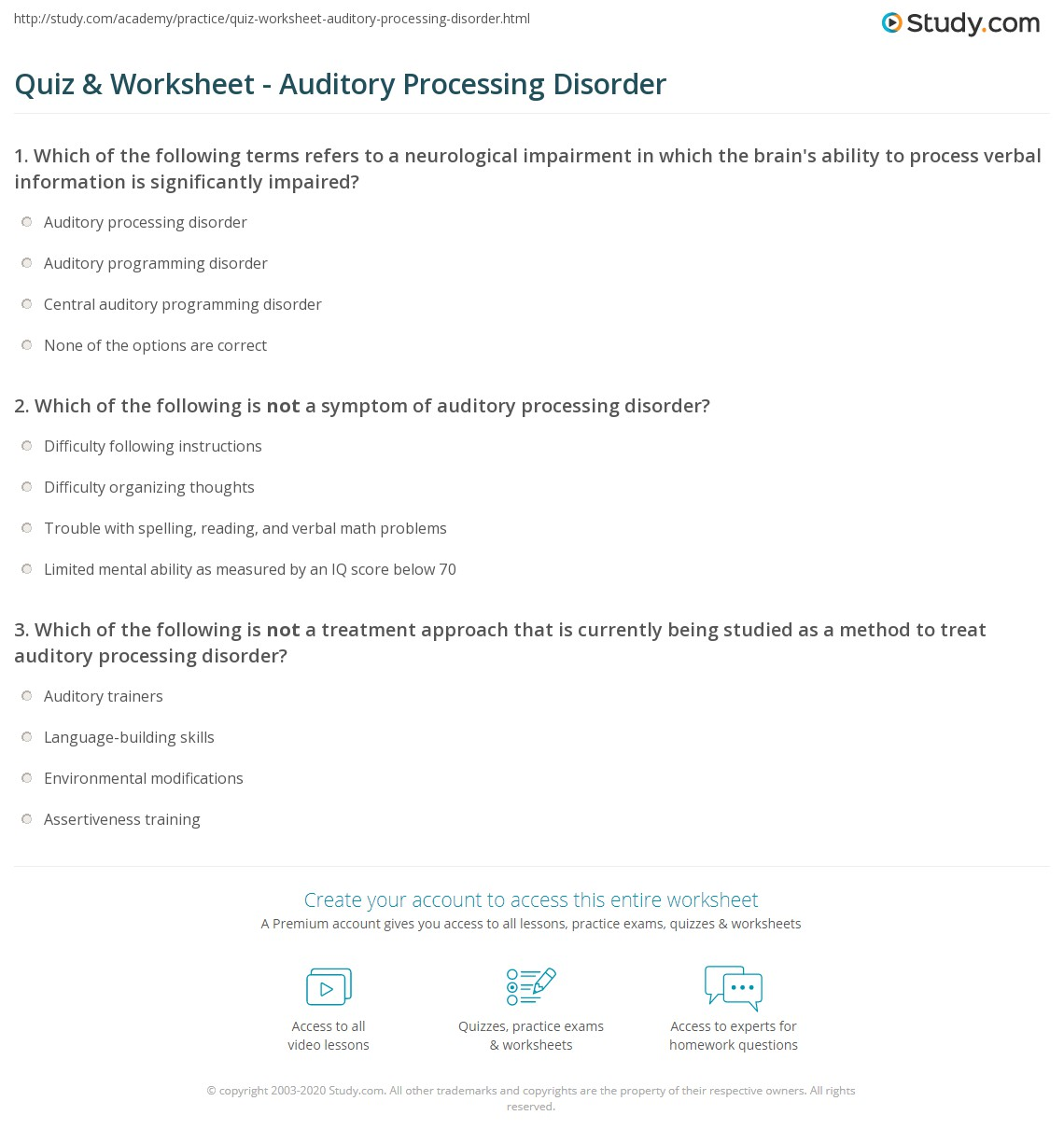 Quiz Worksheet Auditory Processing Disorder – Assertiveness Training Worksheets