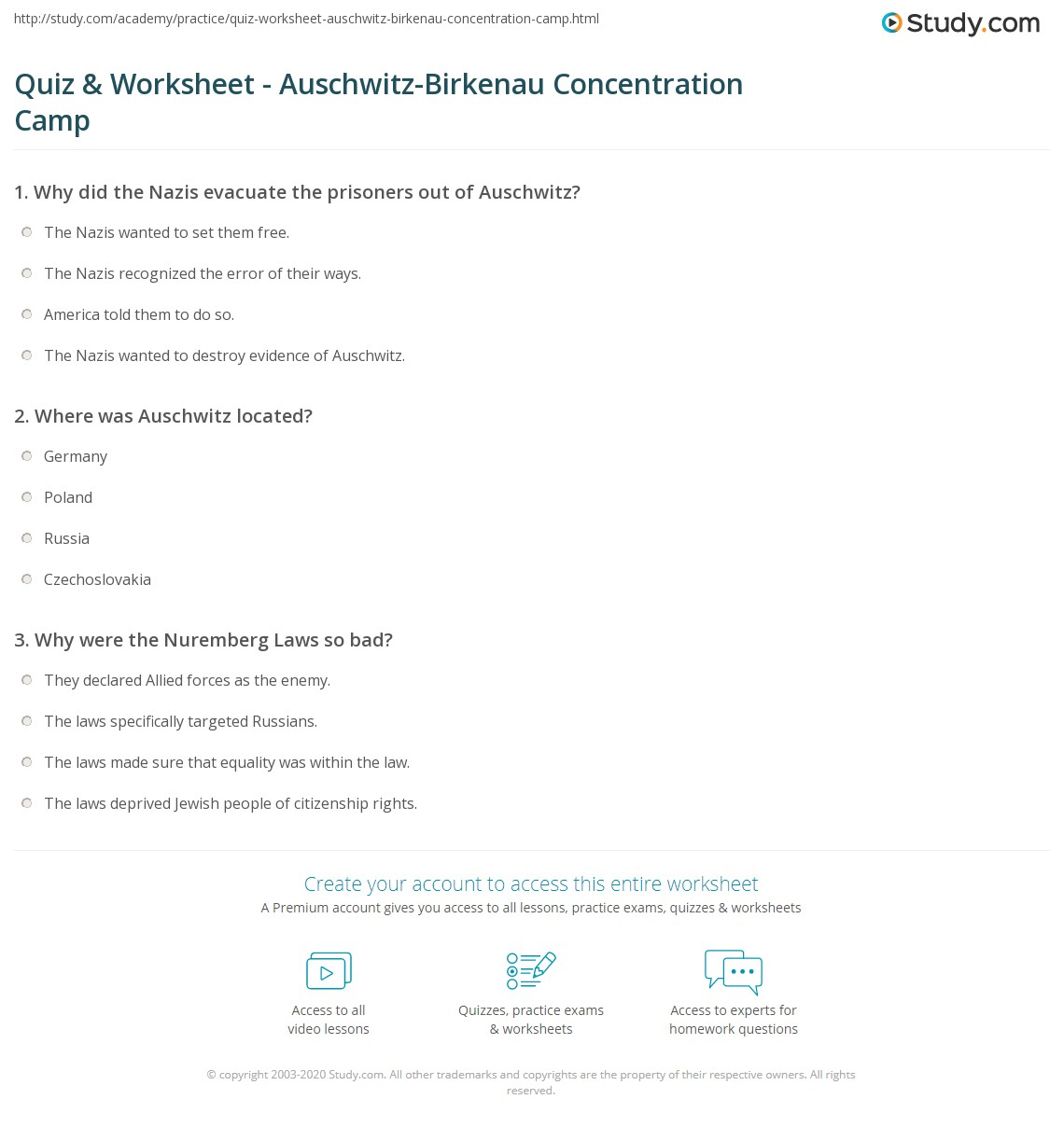 quiz worksheet auschwitz birkenau concentration camp. Black Bedroom Furniture Sets. Home Design Ideas