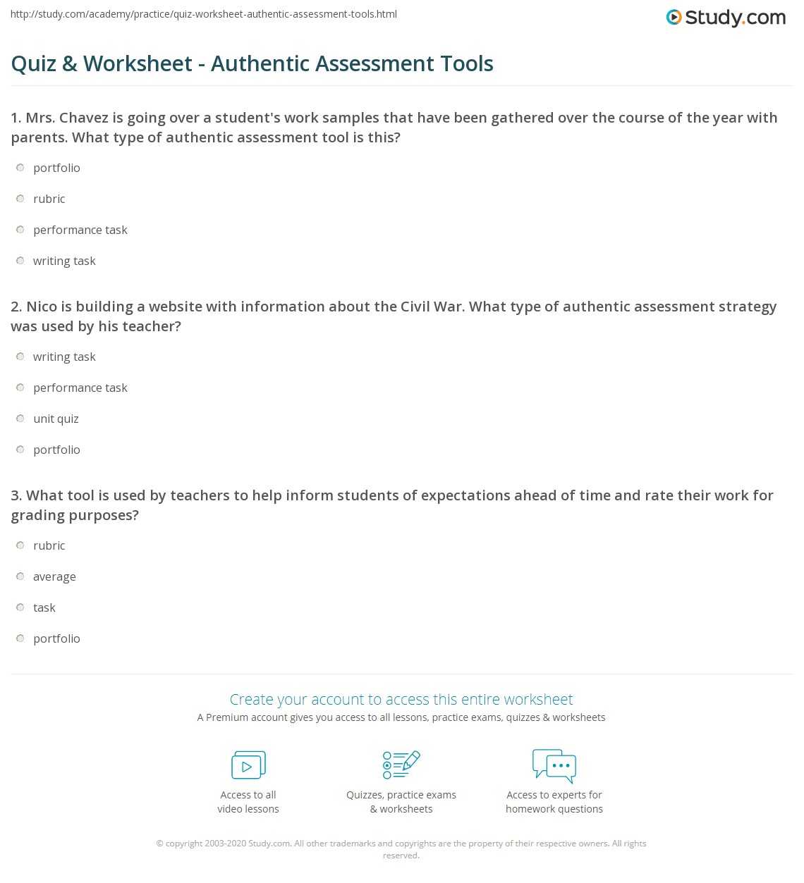 quiz worksheet authentic assessment tools com nico is building a website information about the civil war what type of authentic assessment strategy was used by his teacher