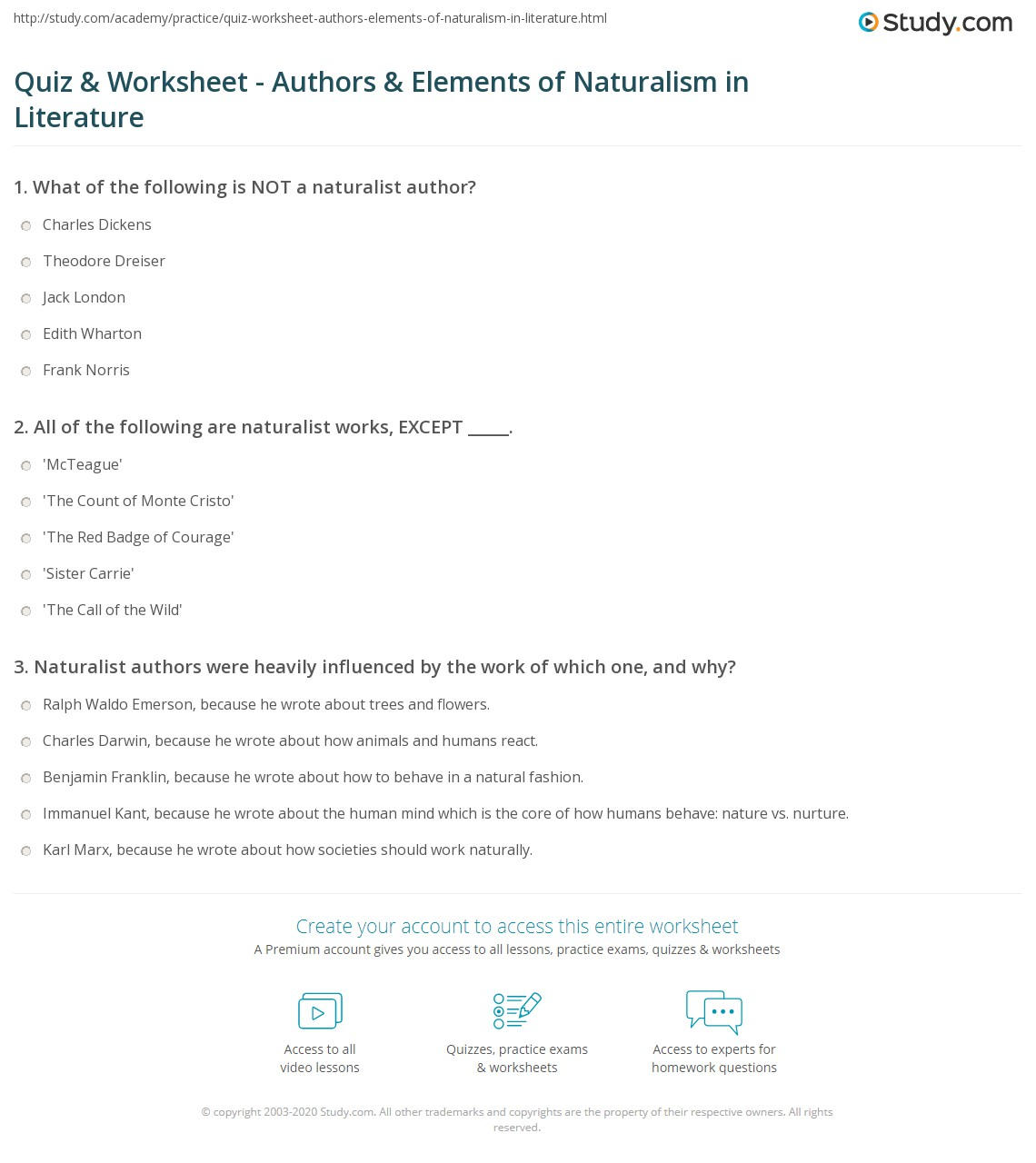 Print Naturalism In Literature Authors And Characteristics Worksheet