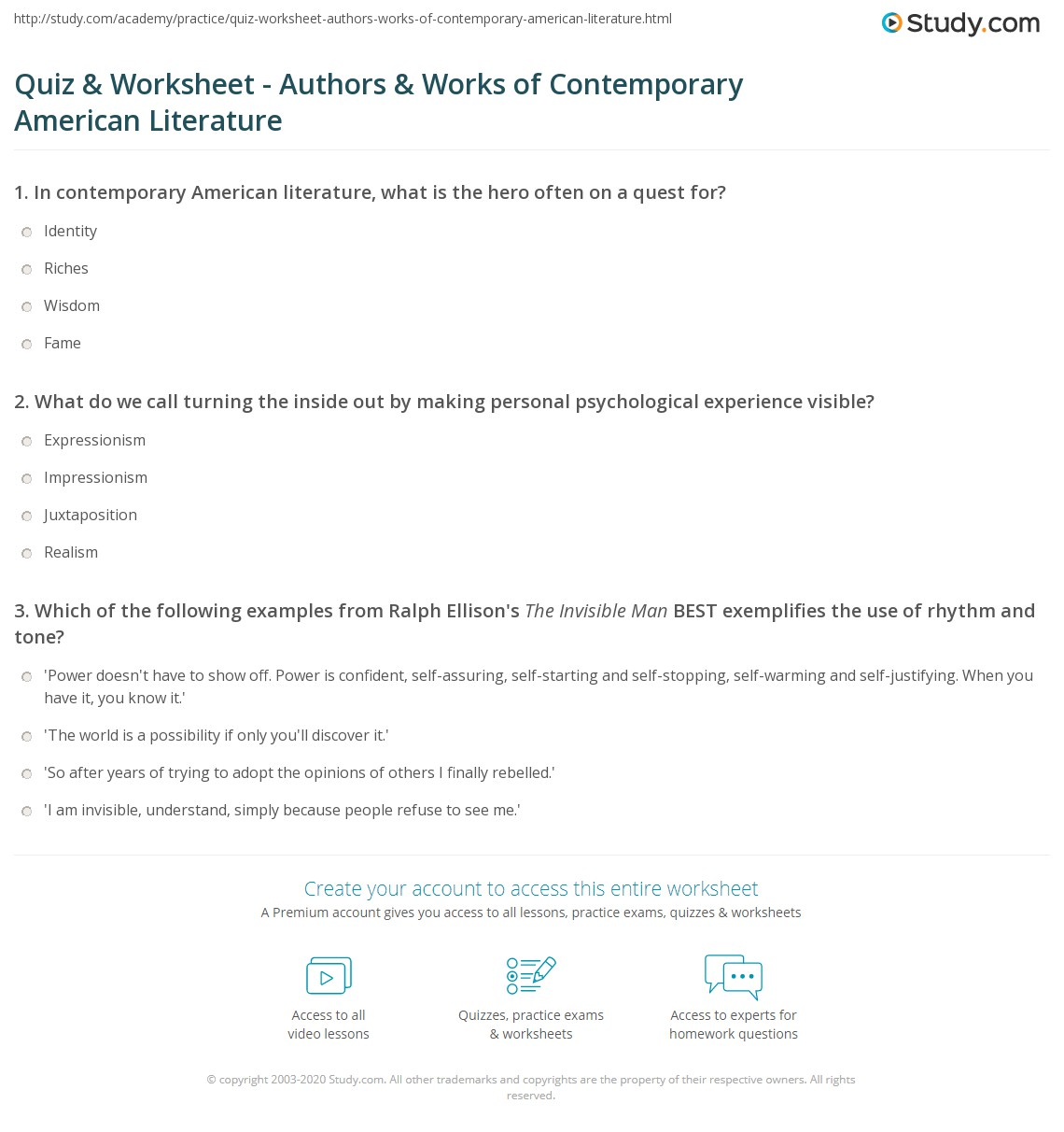 Worksheets American Literature Worksheets quiz worksheet authors works of contemporary american print literature and major worksheet