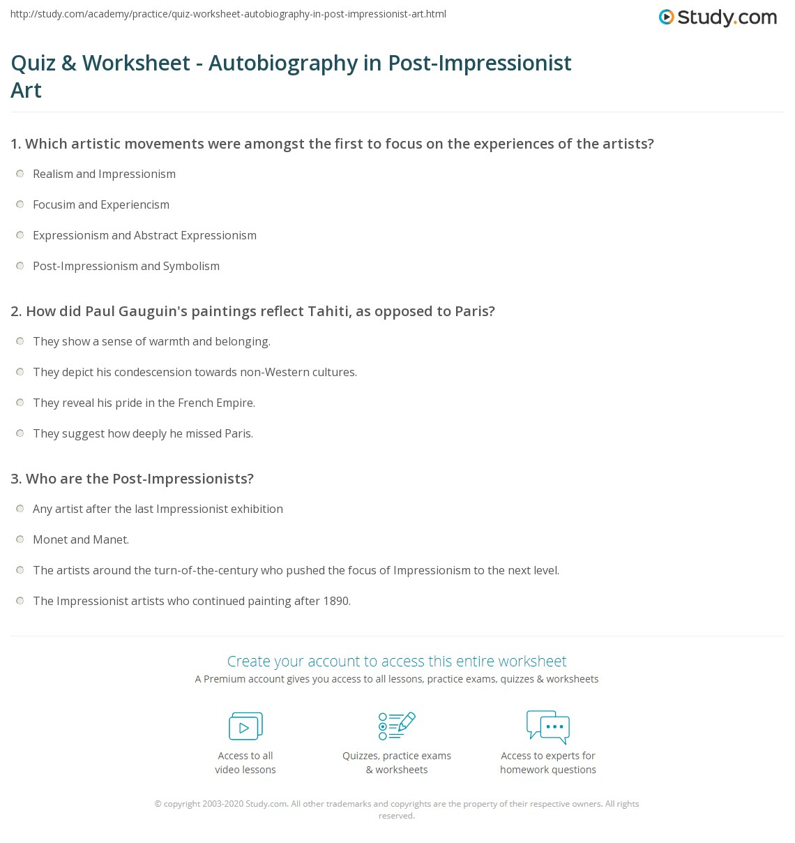 Free Worksheet Autobiography Worksheets quiz worksheet autobiography in post impressionist art study com print autobiographical elements of worksheet