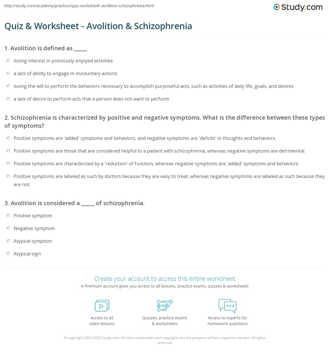 Quiz & Worksheet - Avolition & Schizophrenia | Study.com