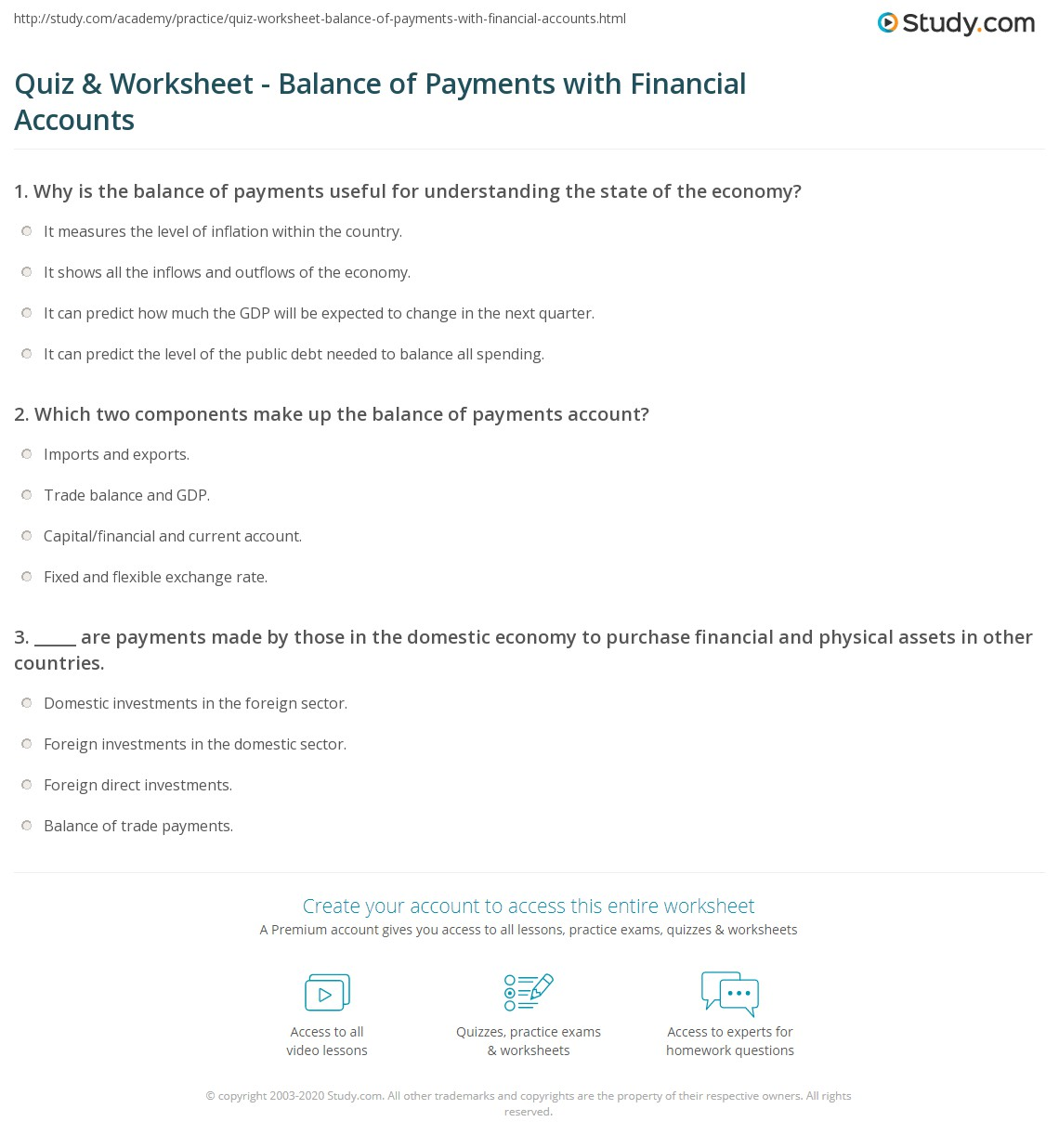 quiz worksheet balance of payments with financial accounts. Black Bedroom Furniture Sets. Home Design Ideas