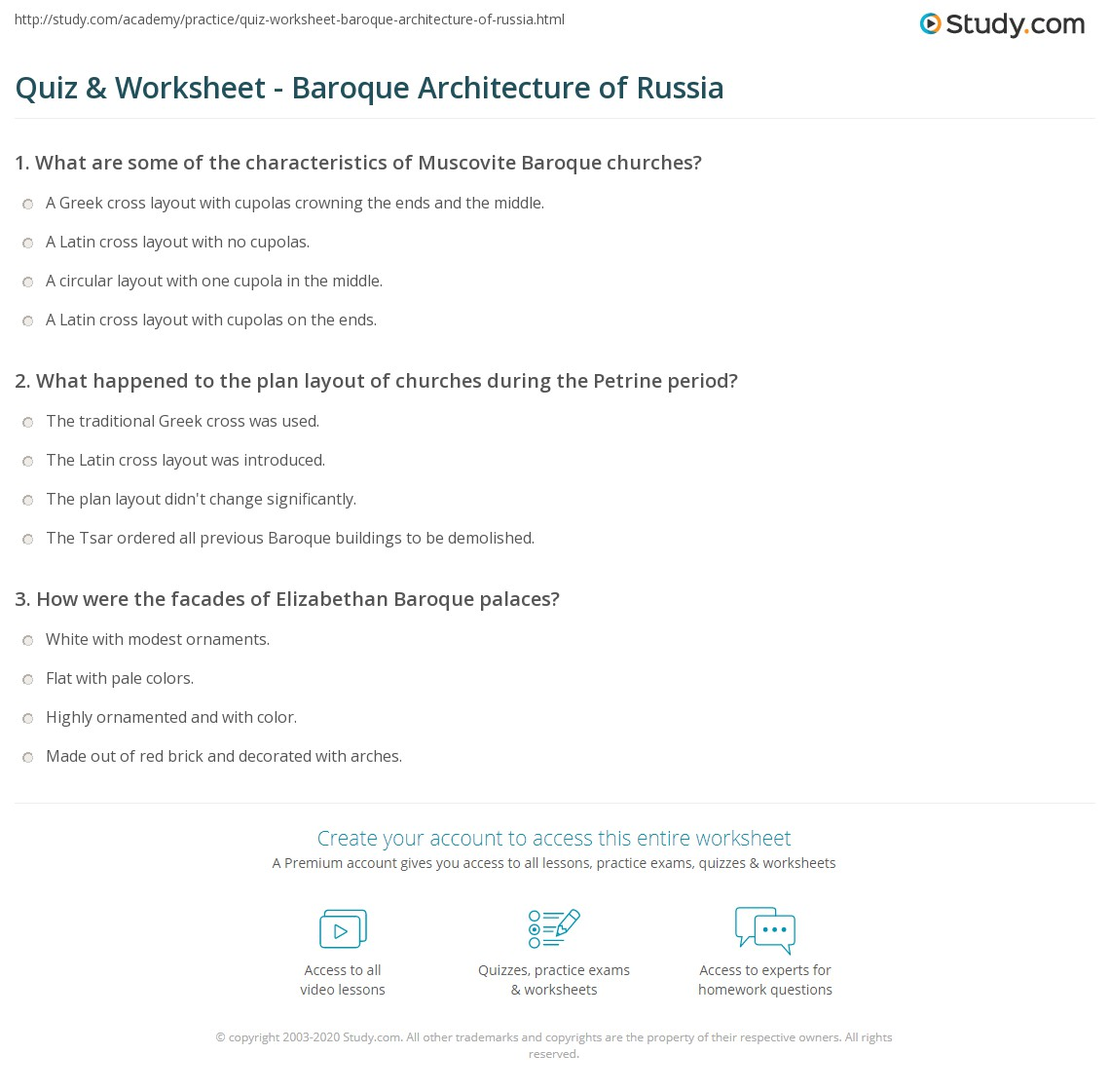 quiz & worksheet - baroque architecture of russia | study