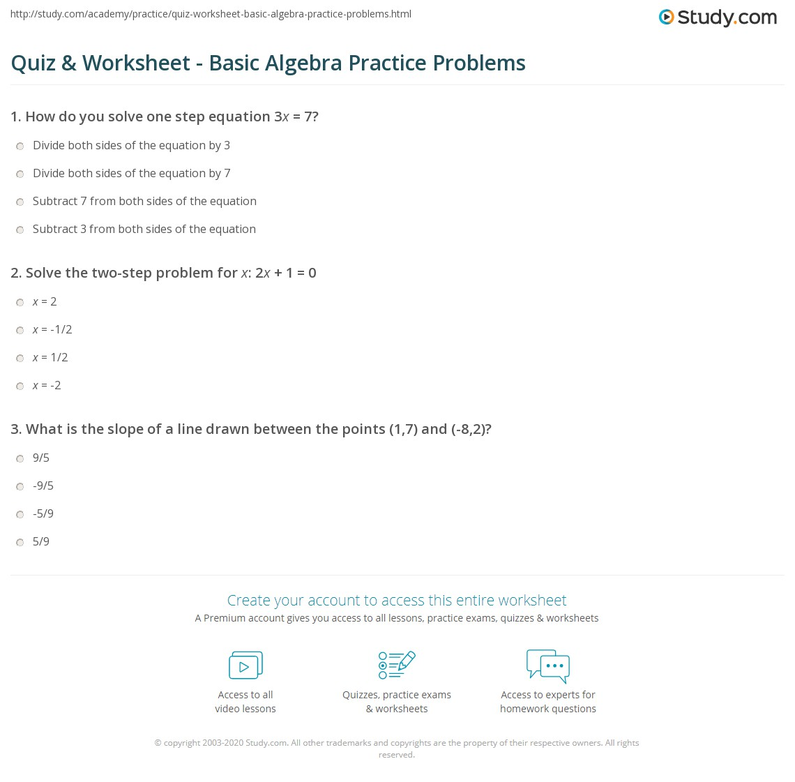 Printables Algebra Practice Problems Worksheet quiz worksheet basic algebra practice problems study com print worksheet