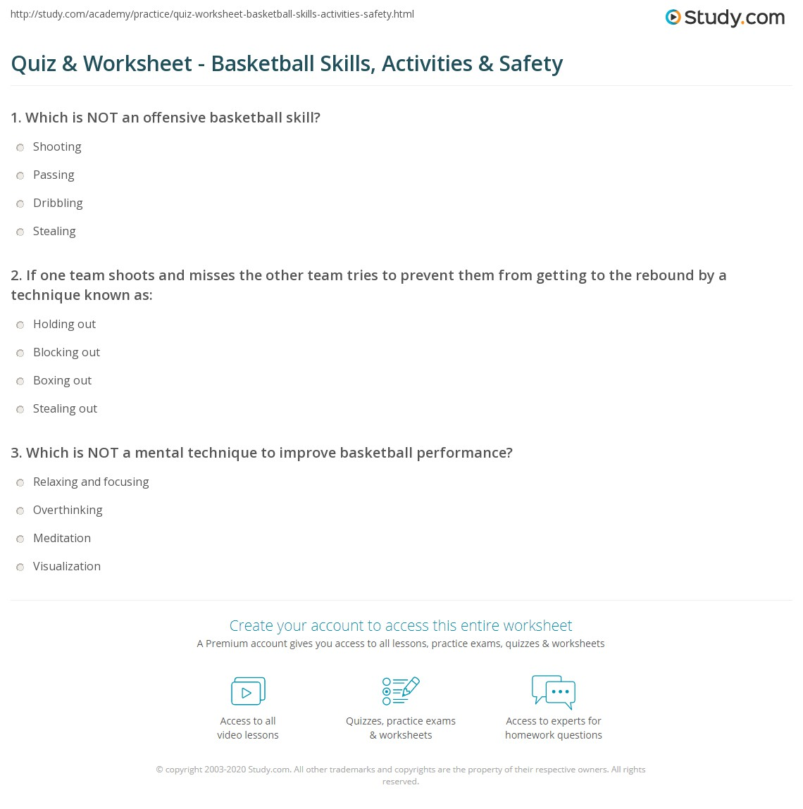 Quiz and Worksheet Basketball Skills Activities and Safety – Basketball Math Worksheets