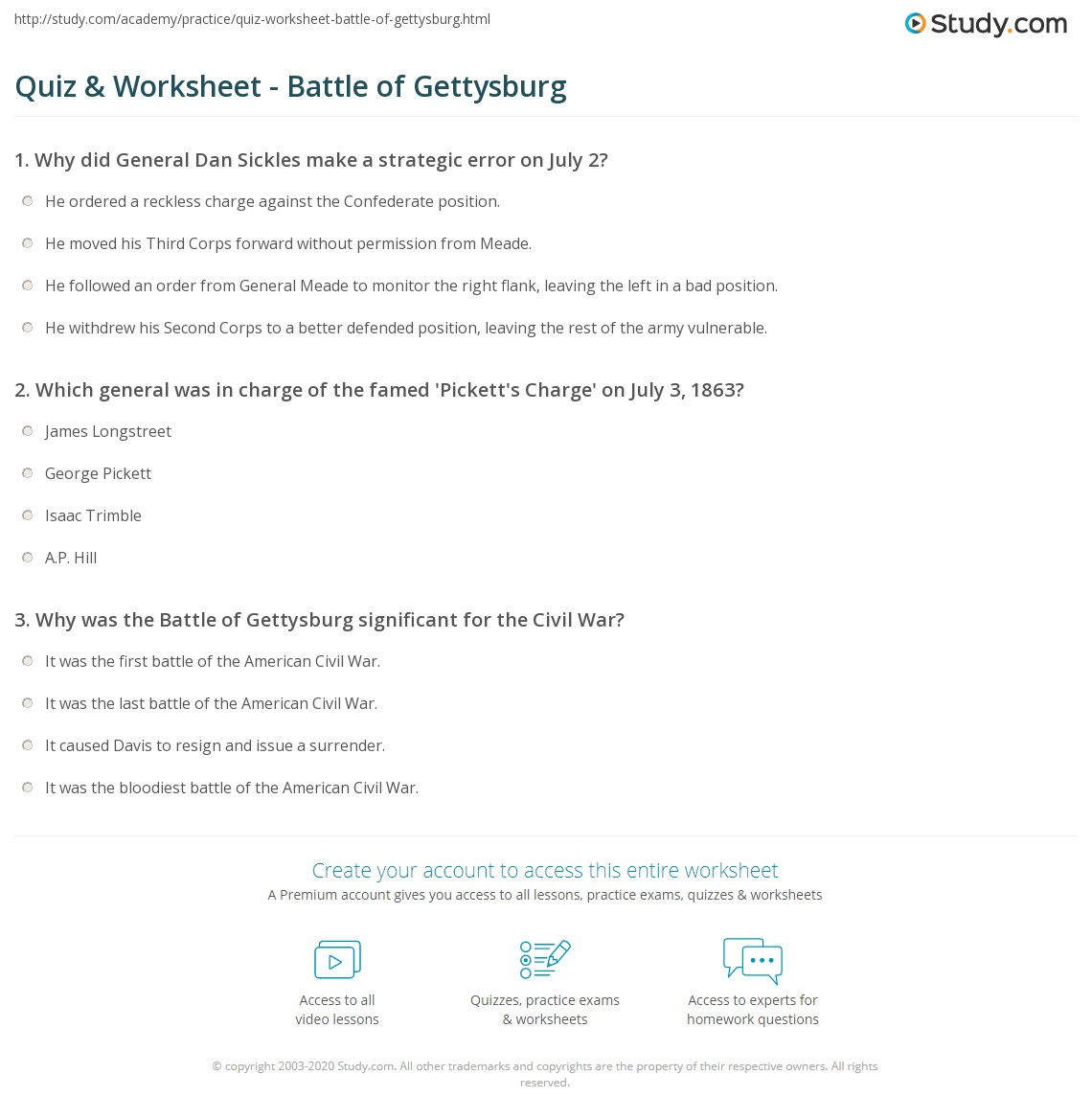 quiz worksheet battle of gettysburg com print battle of gettysburg facts summary significance worksheet