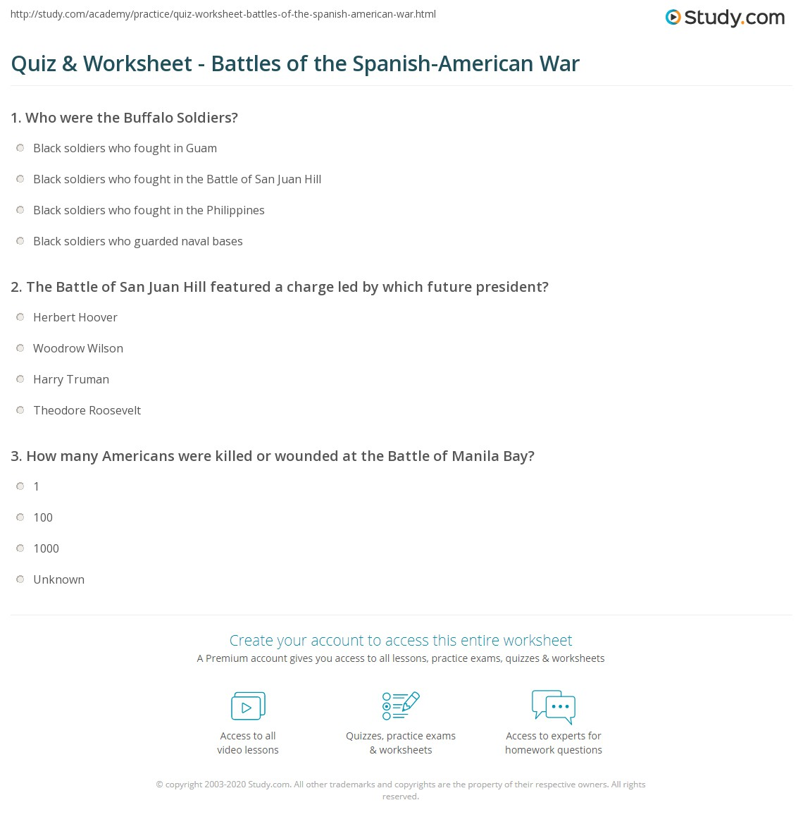 Quiz Worksheet Battles of the SpanishAmerican War – Spanish American War Worksheet