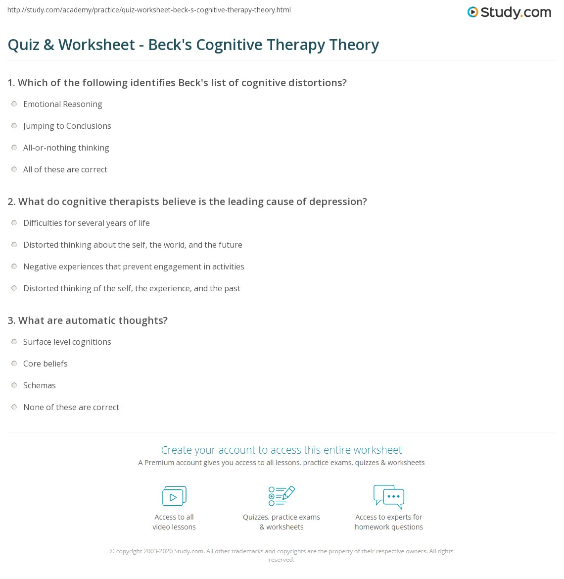 Quiz Worksheet Becks Cognitive Therapy Theory – Cognitive Distortion Worksheet