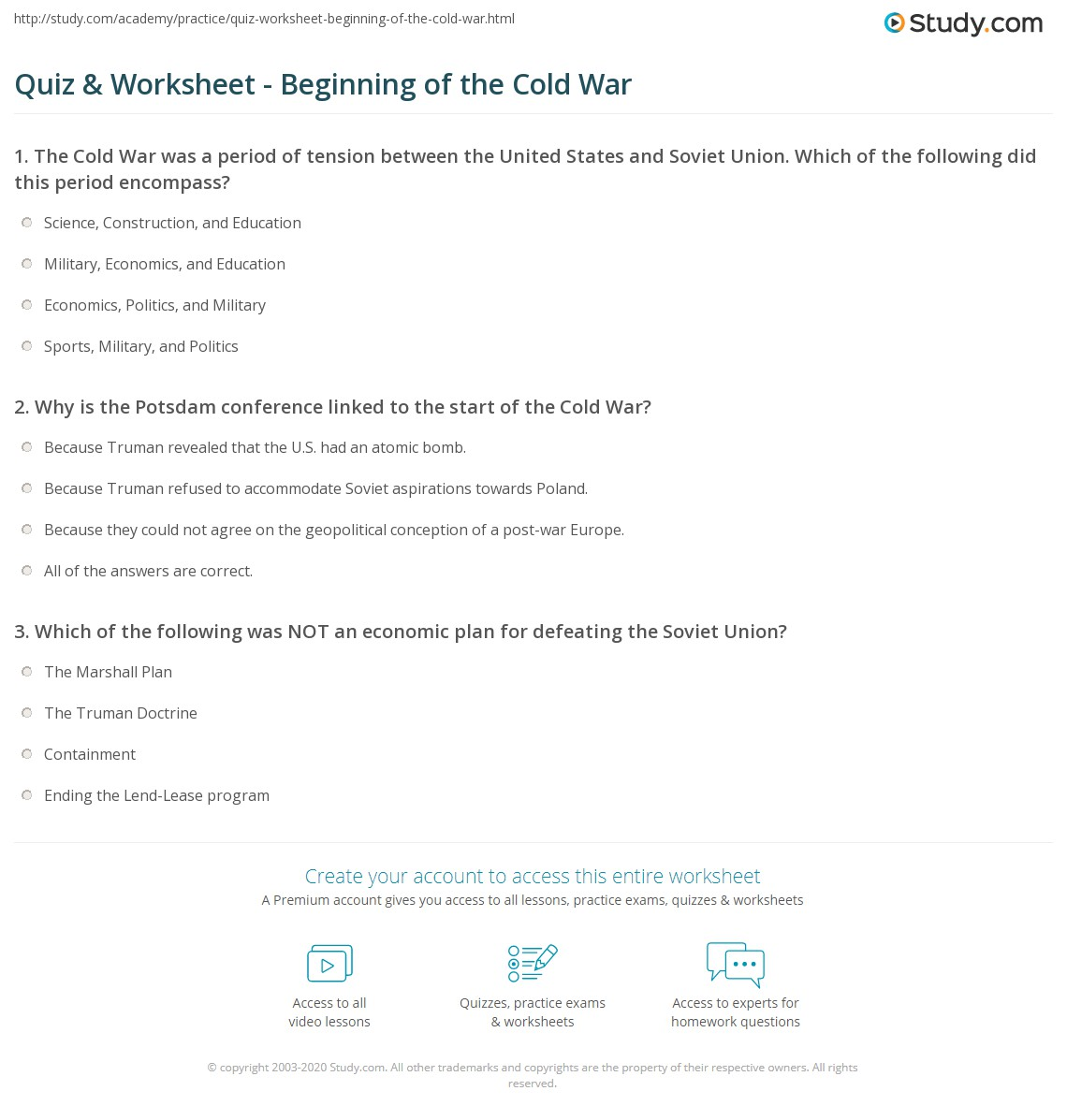 {Quiz Worksheet Beginning of the Cold War – Cold War Worksheet