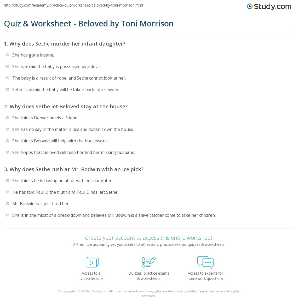 quiz worksheet beloved by toni morrison com print beloved by toni morrison summary analysis worksheet