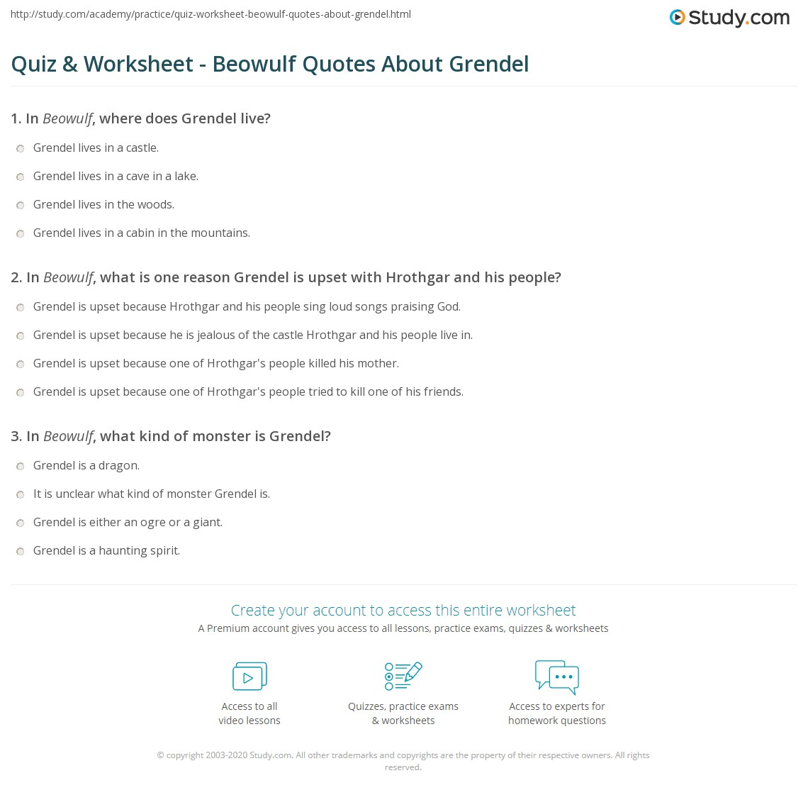 quiz worksheet beowulf quotes about grendel com print beowulf quotes about grendel examples analysis worksheet