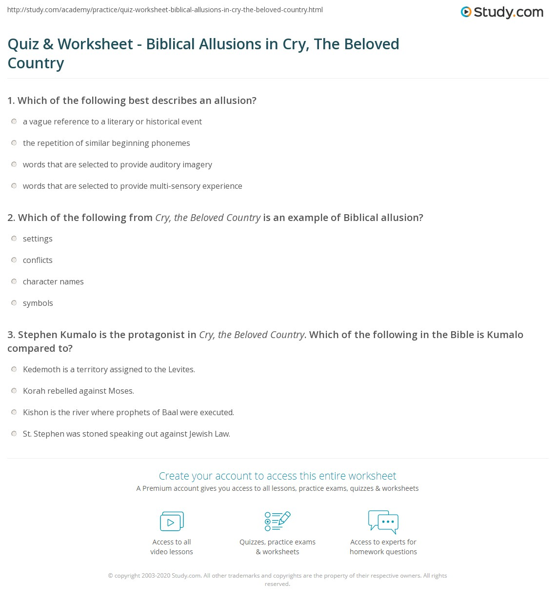 Quiz Worksheet Biblical Allusions in Cry The Beloved Country – Allusion Worksheets