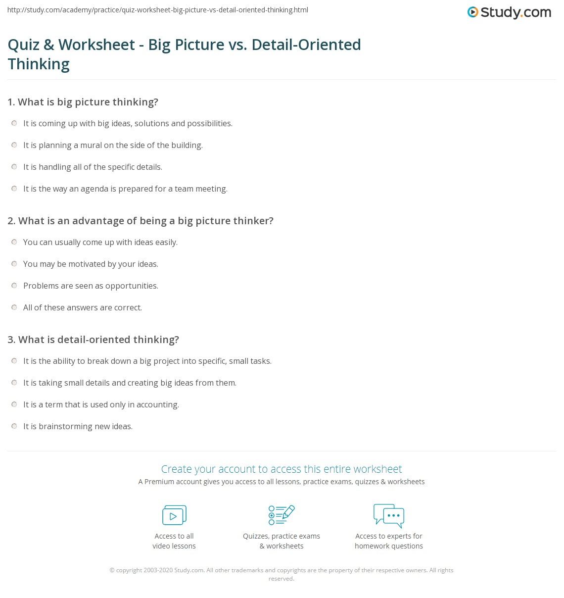 Quiz & Worksheet - Big Picture vs. Detail-Oriented Thinking ...