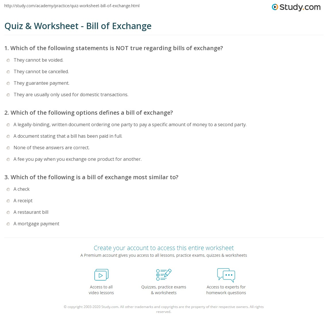 Quiz Worksheet Bill of Exchange – Bill of Exchange Sample