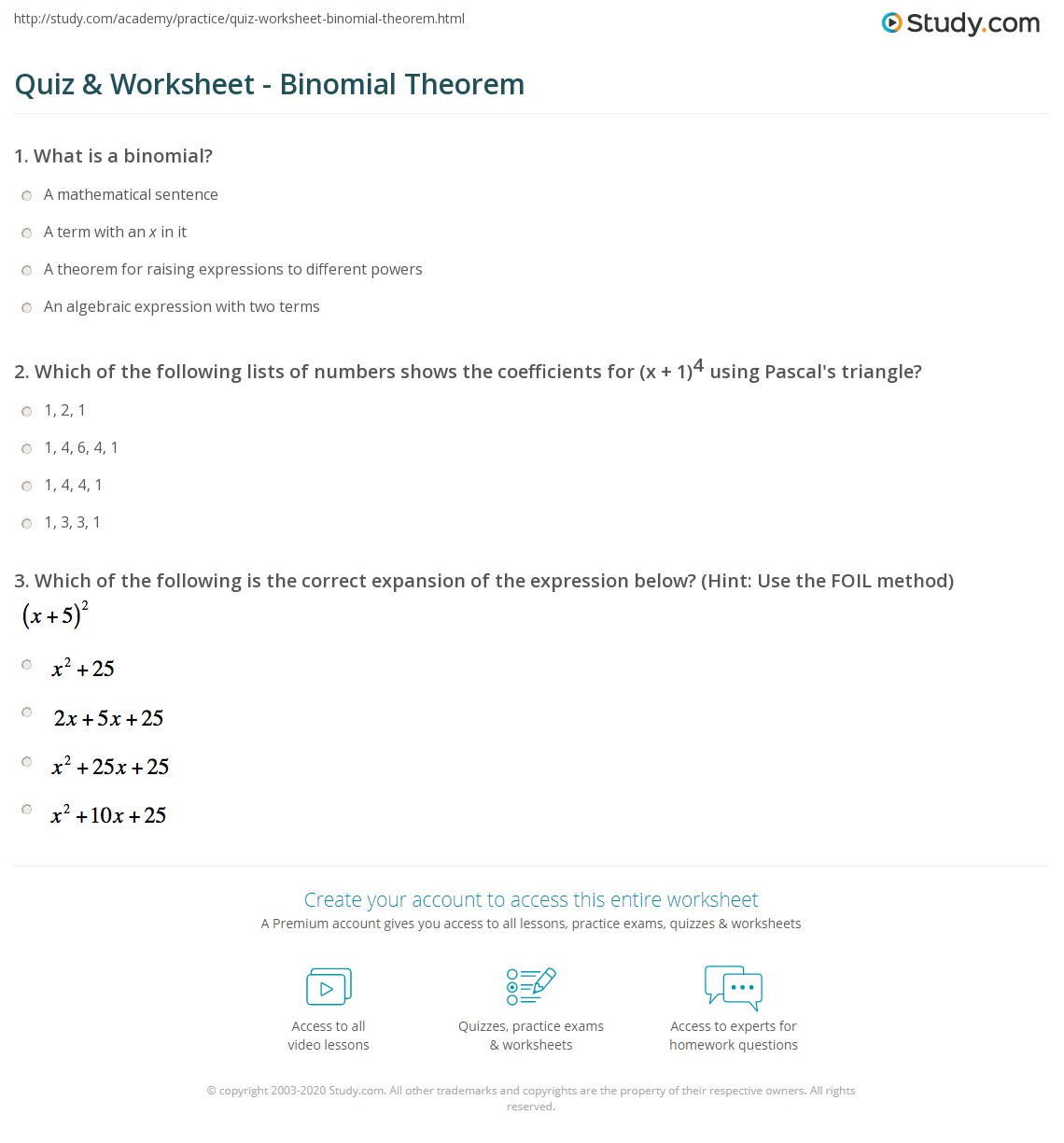 worksheet Binomial Expansion Worksheet quiz worksheet binomial theorem study com print what is the worksheet