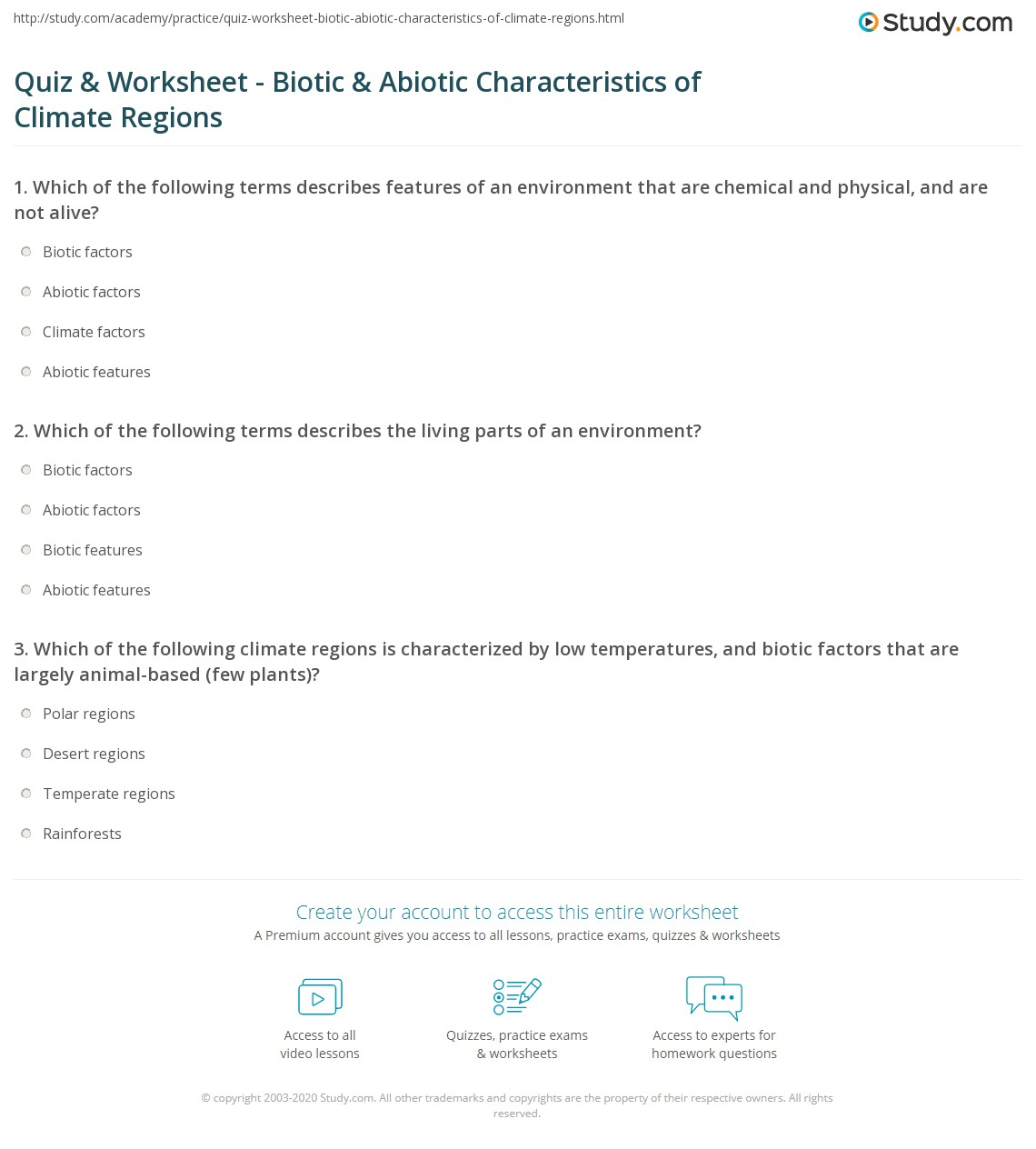 Quiz & Worksheet - Biotic & Abiotic Characteristics of Climate ...